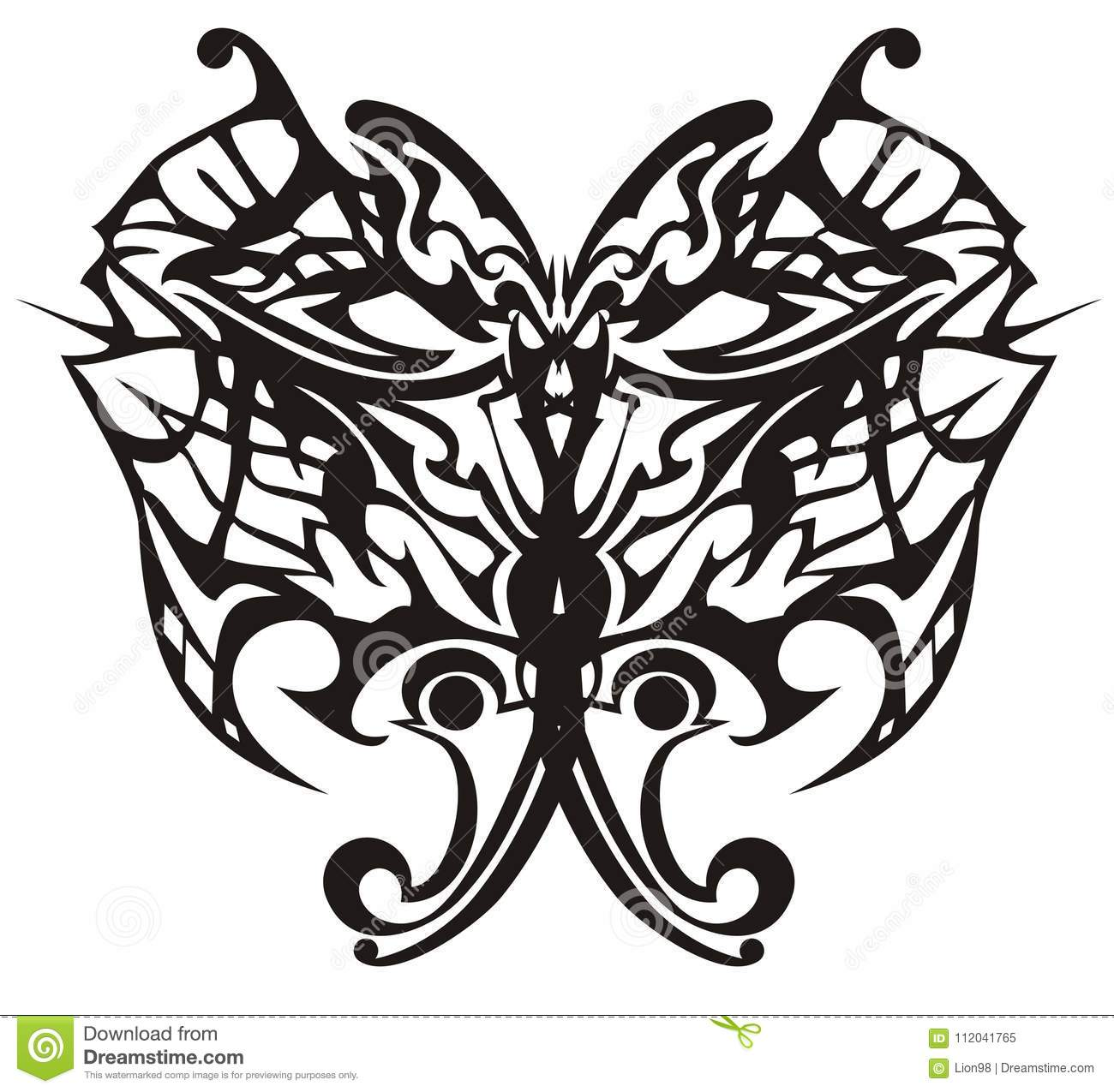 Vector Illustration Of Tribal Butterfly For Adults Coloring Books ...