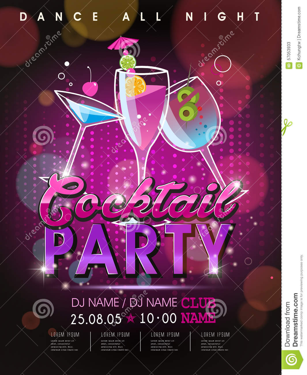 fantastic cocktail party poster design stock vector