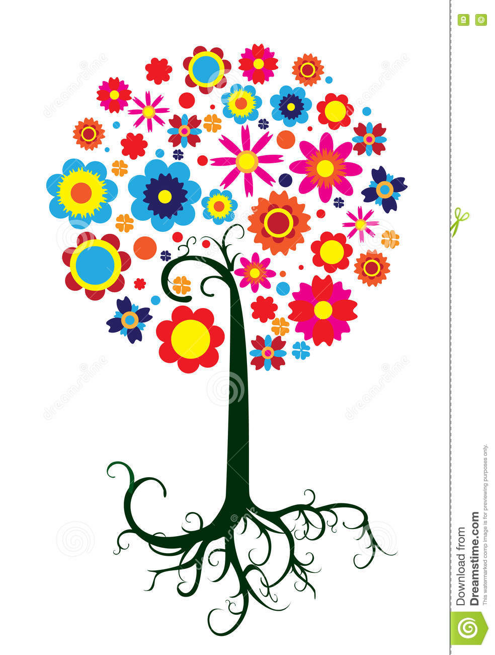 Vector image of colourful fantastic tree with diffrent flowers