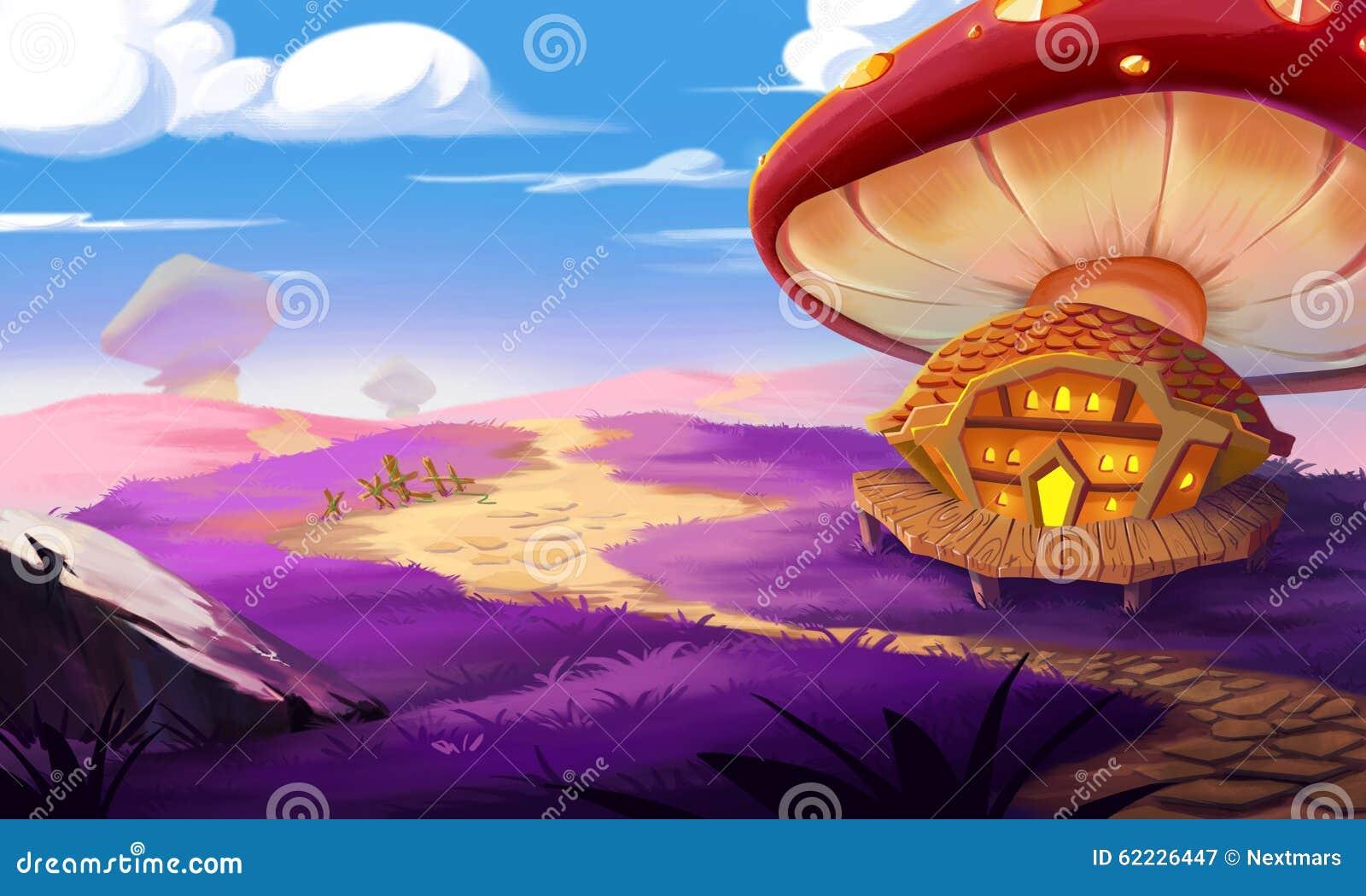 A Fantastic Land A Huge Mushroom And A House Built Near