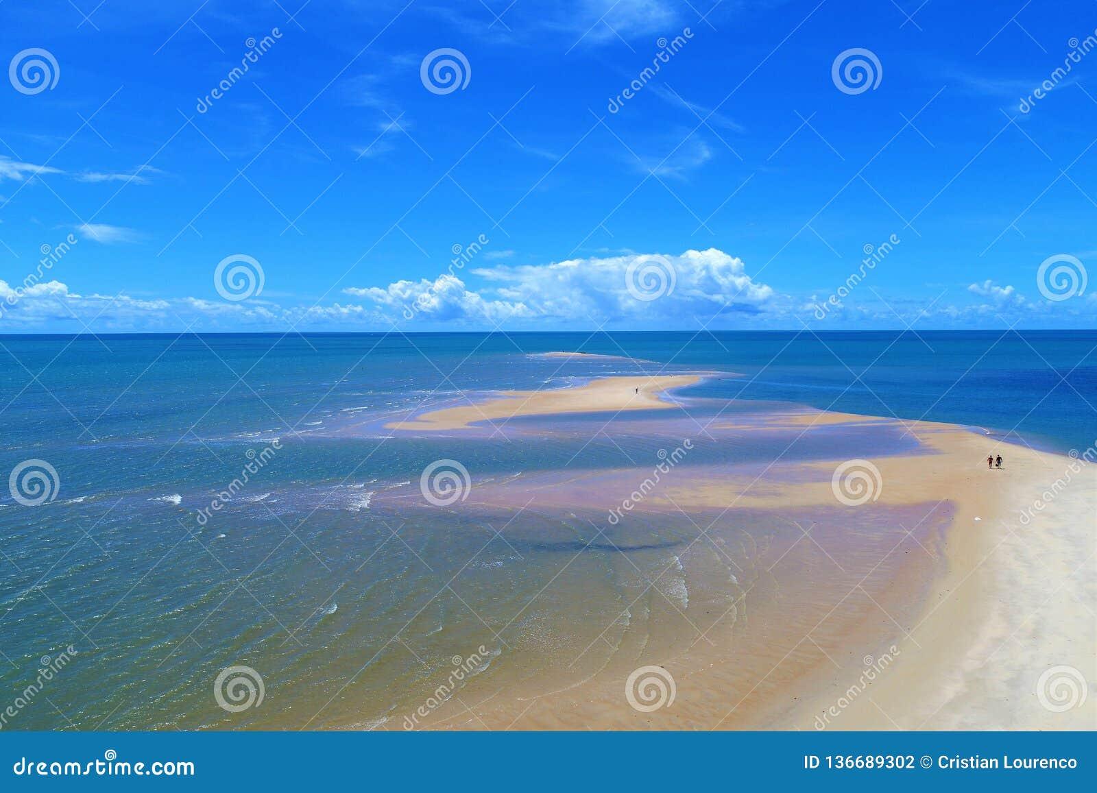 Corumbau, Bahia, Brazil: View of beautiful beach with a big sand`s bank