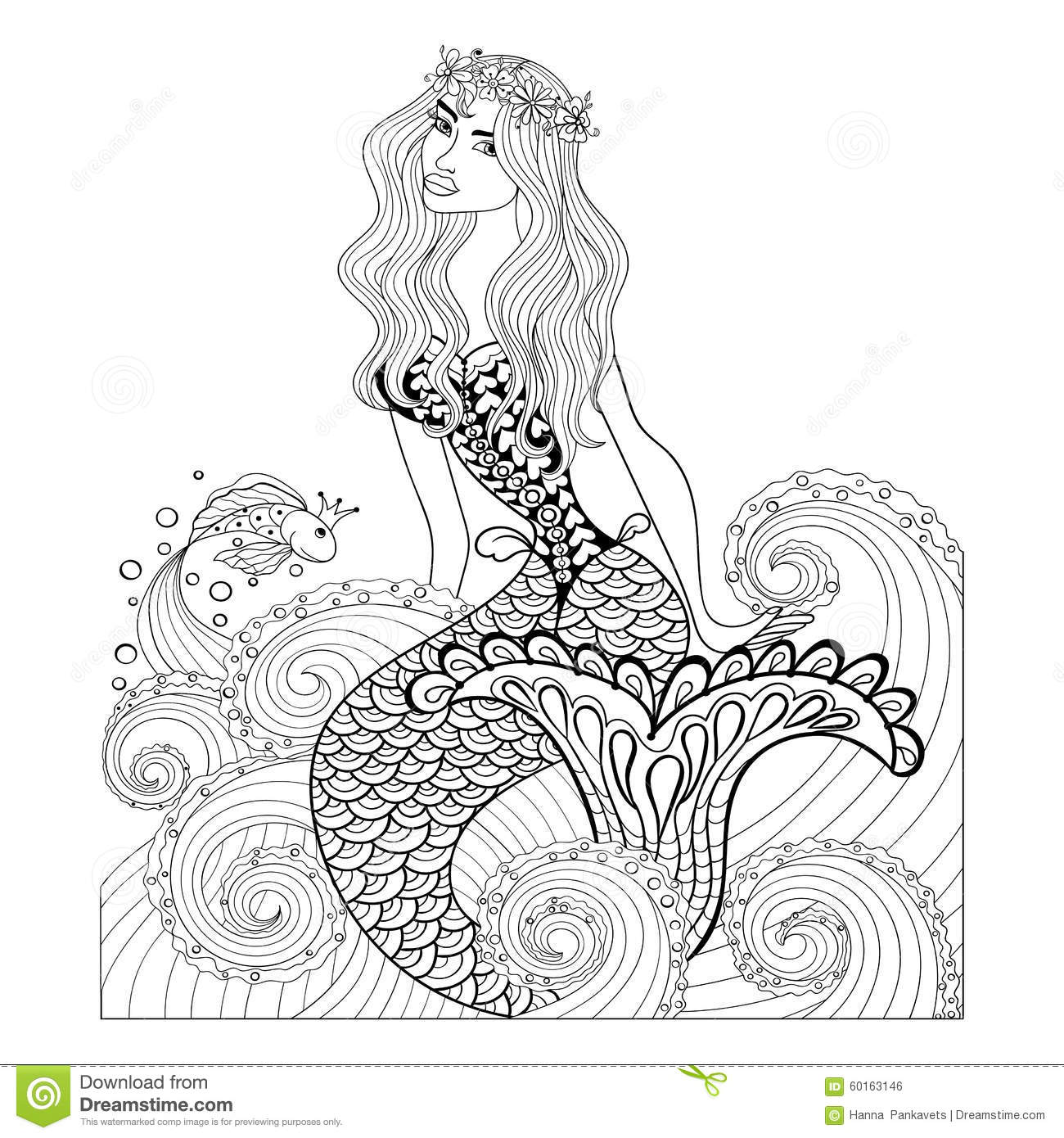 Fantastic Mermaid In Sea Waves With A Goldfish And Wreath
