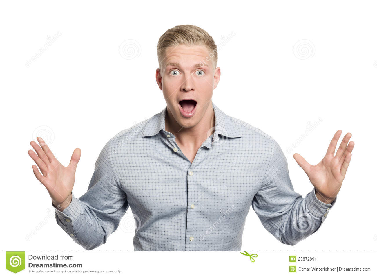 Surprised Young Businessman With Hands Up Stock Image