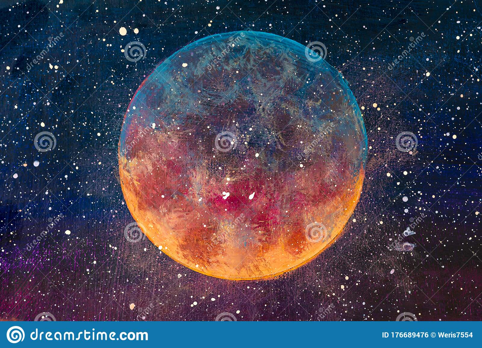 Fantastic Oil Painting Beautiful Big Planet Moon Among Stars In Universe Stock Photo Image Of Beautiful Fine 176689476