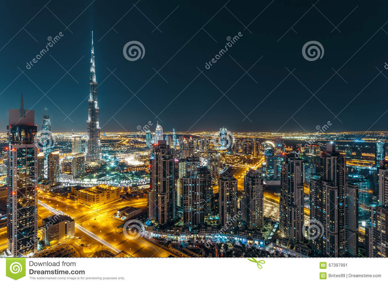 Fantastic Rooftop View Of Dubai S Modern Architecture By Night Stock