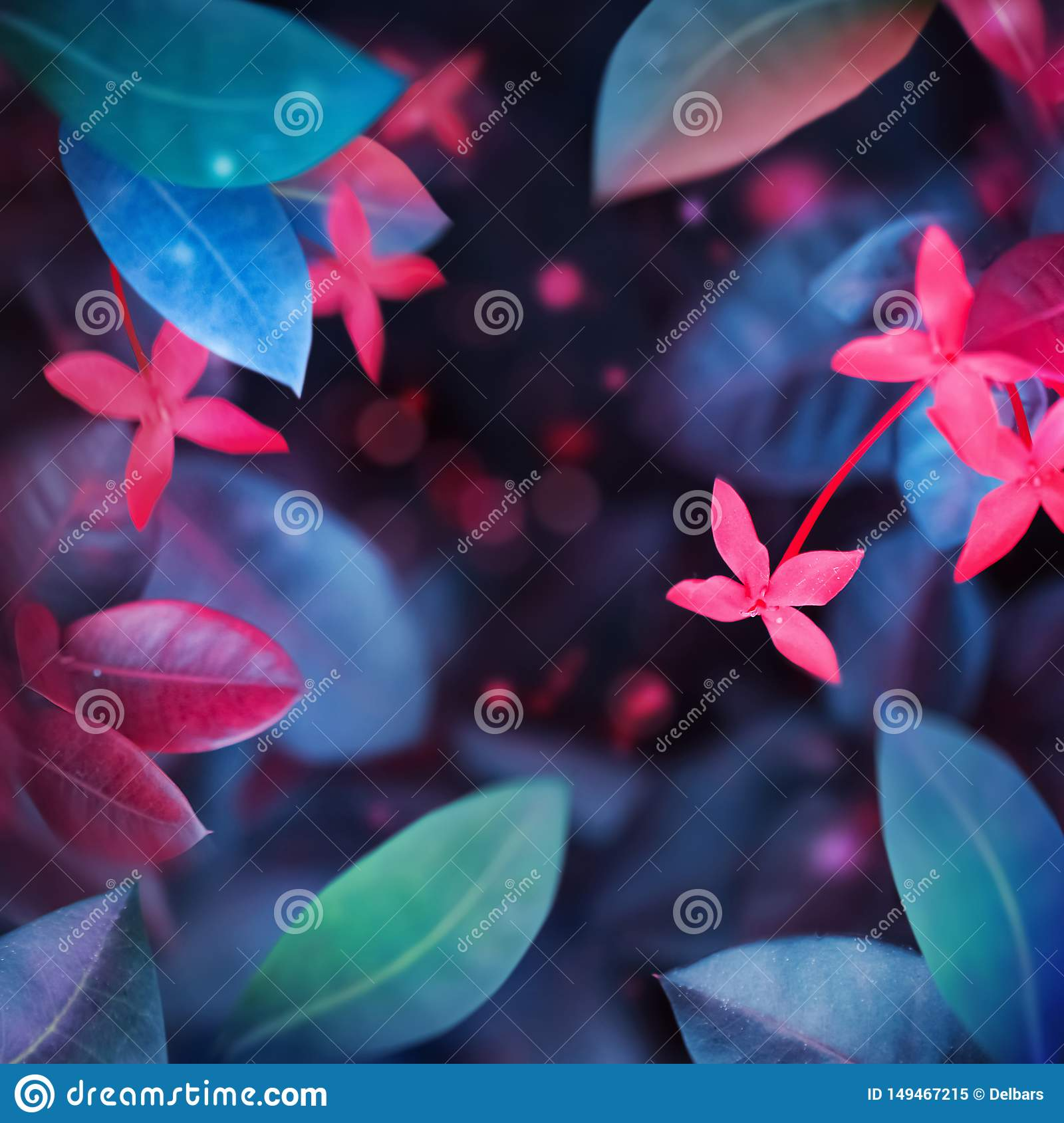 Fantastic summer tropical colorful flowers and leaves. Bright natural spring summer ultra image.