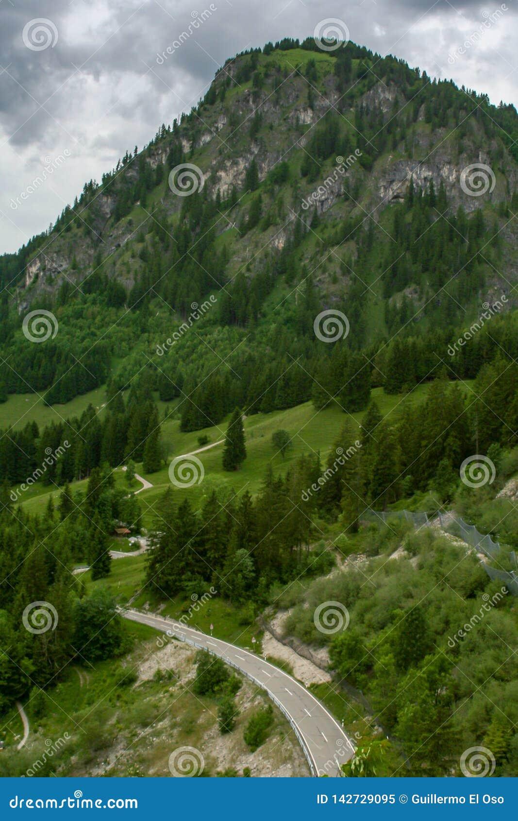 Fantastic view over a alp road
