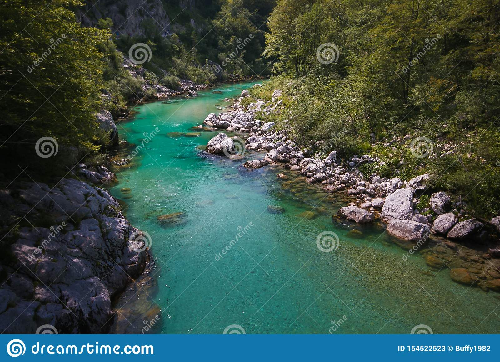Fantastic view of Soca river near Kobarid in Slovenia