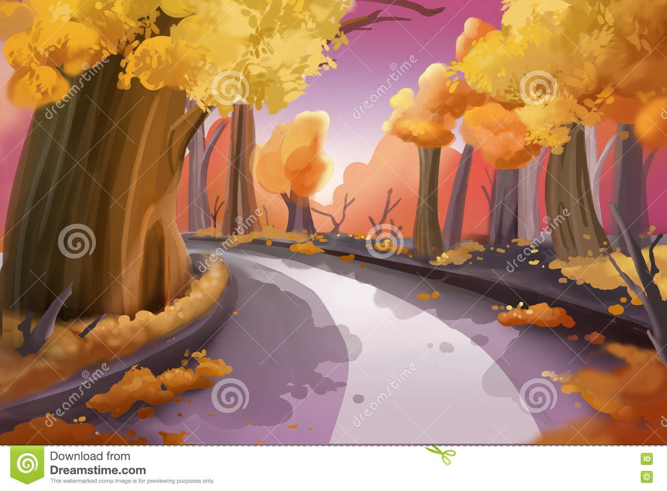 Game with watercolor - Fantastic Watercolor Style Painting Forest Road Royalty Free Stock Images