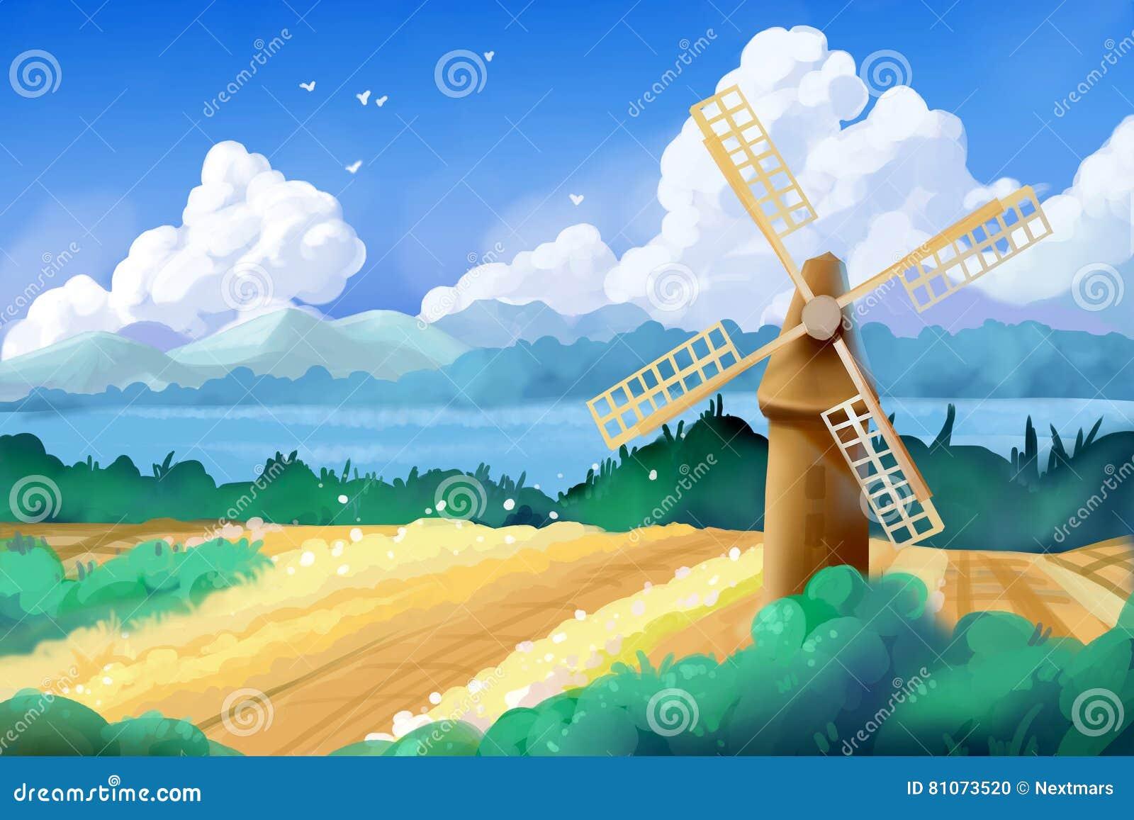 ... : Wheat Fields And Windmill Stock Illustration - Image: 81073520