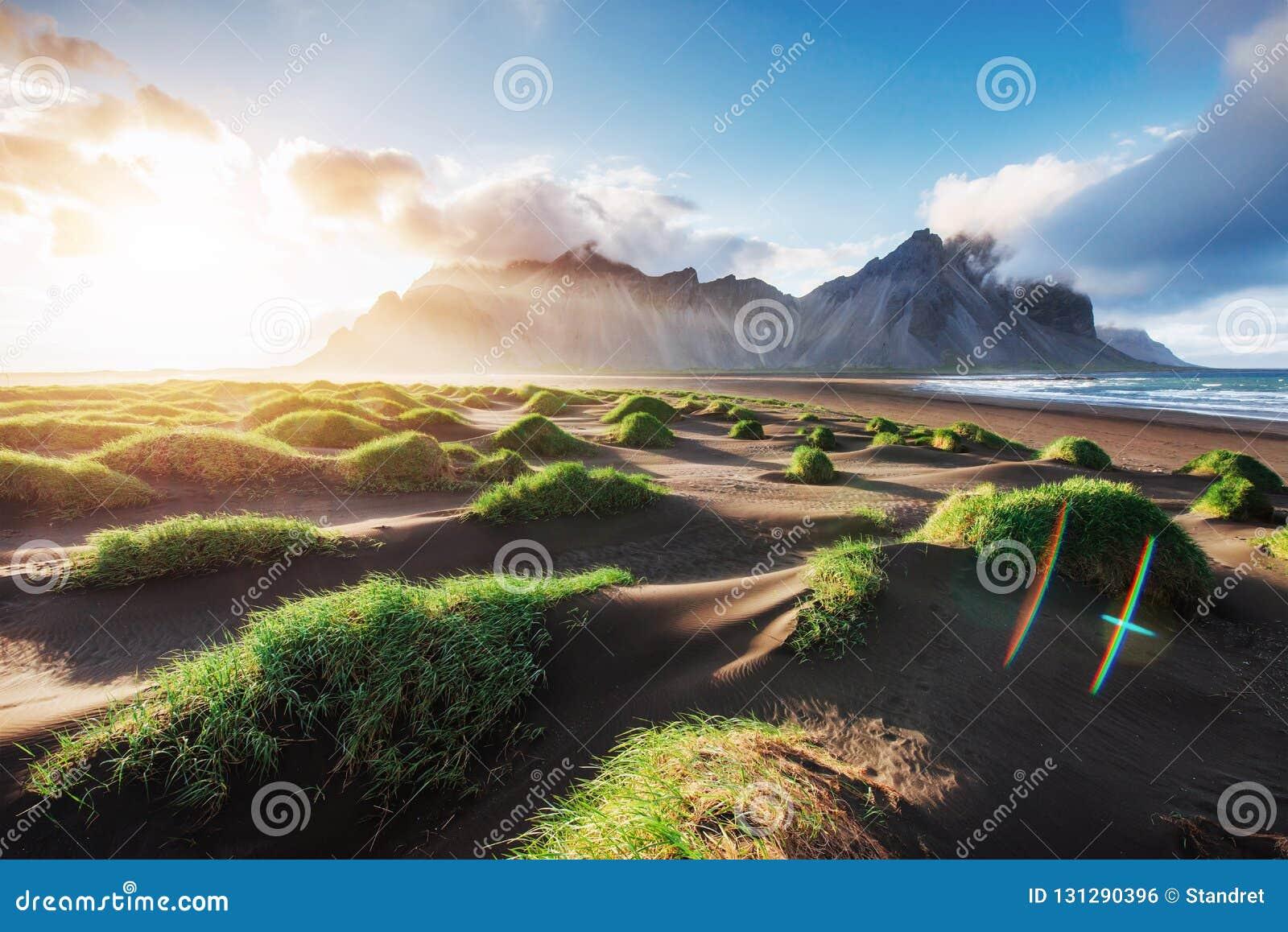 Fantastico ad ovest delle montagne e delle dune di sabbia vulcaniche della lava sulla spiaggia Stokksness, Islanda Mattina variop