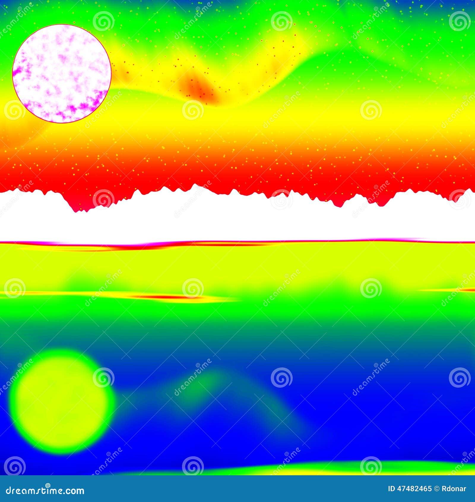 Fantastisch infrarood aftasten van rotsachtig landschap, pijnboombos met kleurrijke mist