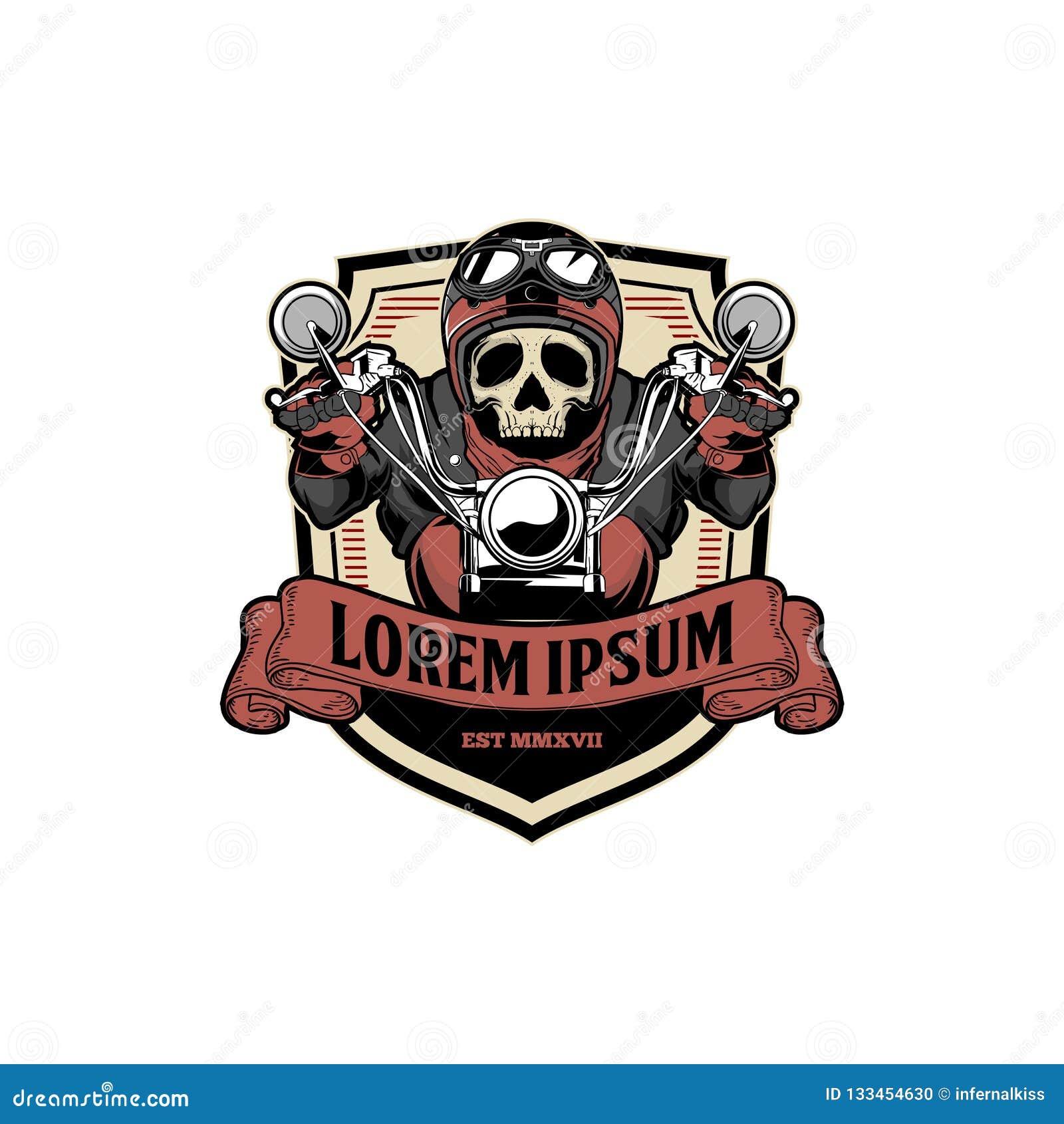 Fantastisk och unik för skallecyklist för gammal skola mall för logo för emblem för vektor för motorcykel för ritt