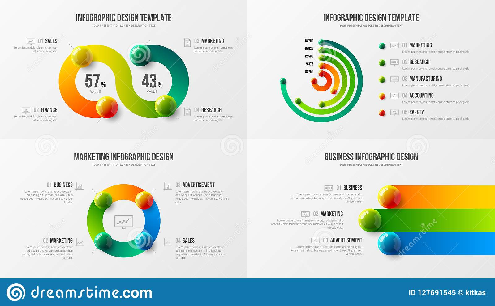 Fantastisk packe för orientering för design för stång för affärsdata radiell Färgrik realistisk 3D klumpa ihop sig den infographi