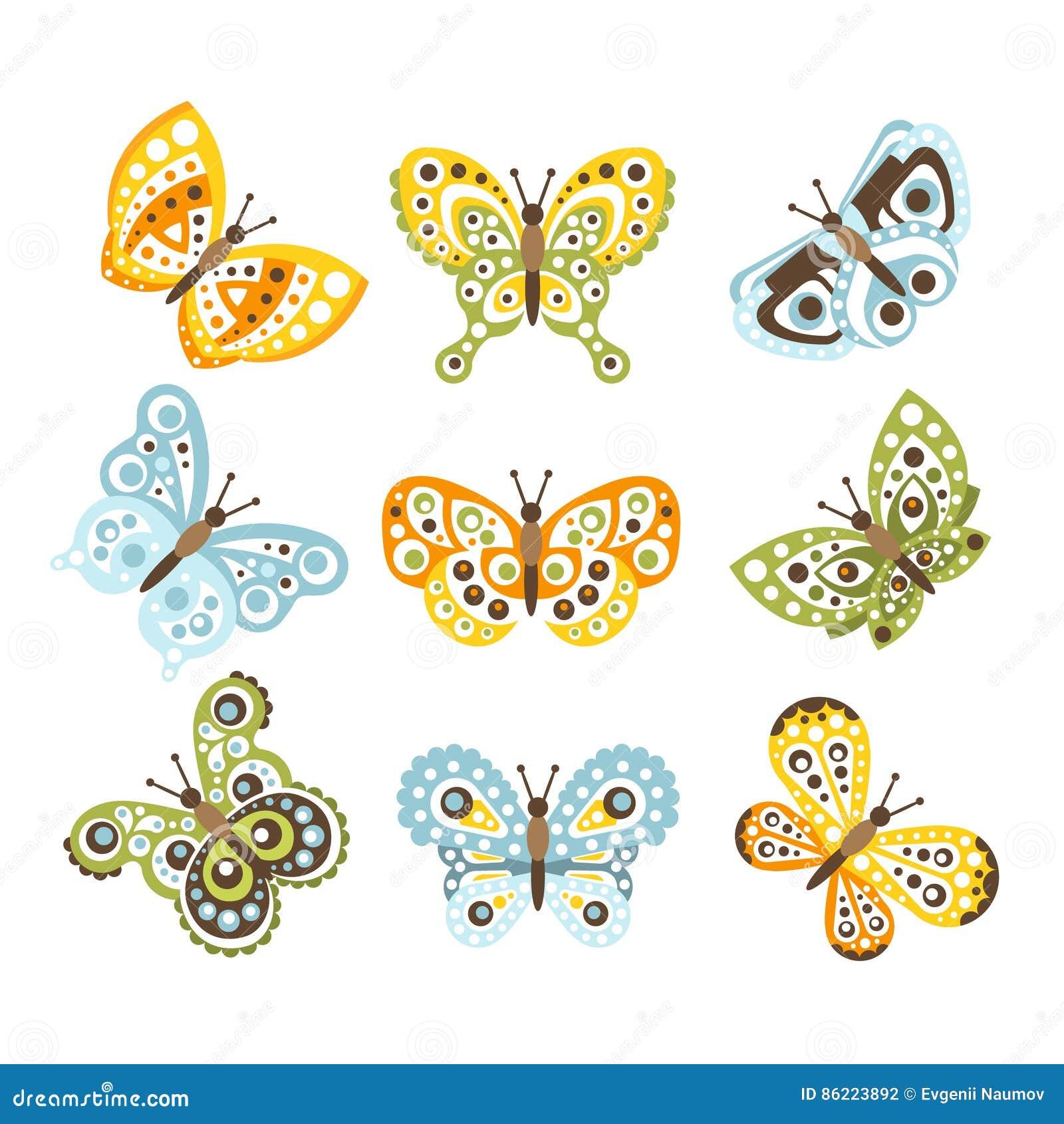 Fantastisk tropisk fjäril med skraj designmodeller på vinguppsättningen av idérika krypteckningar