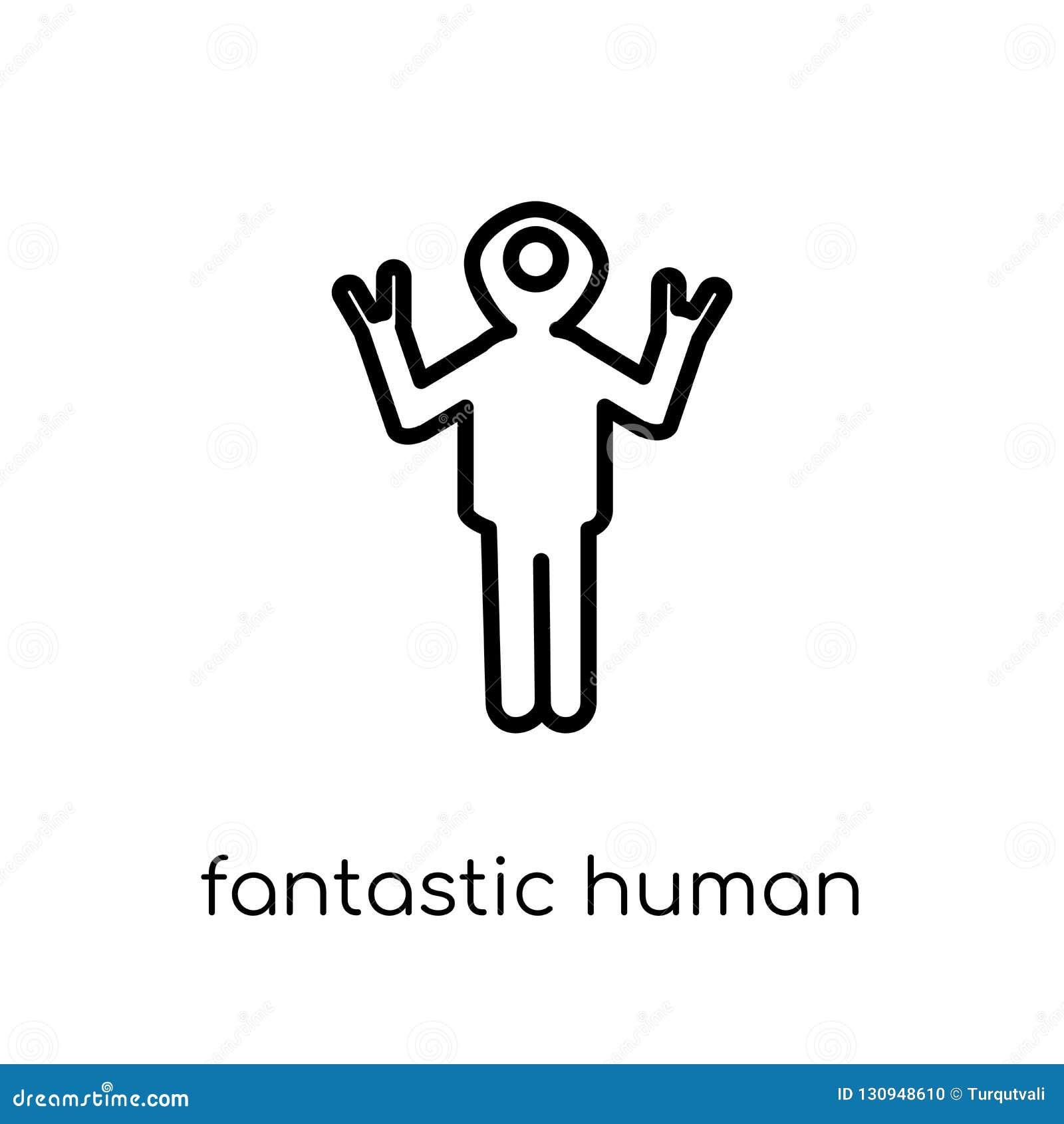 Fantastyczna ludzka ikona Modny nowożytny płaski liniowy wektorowy fantastyczny