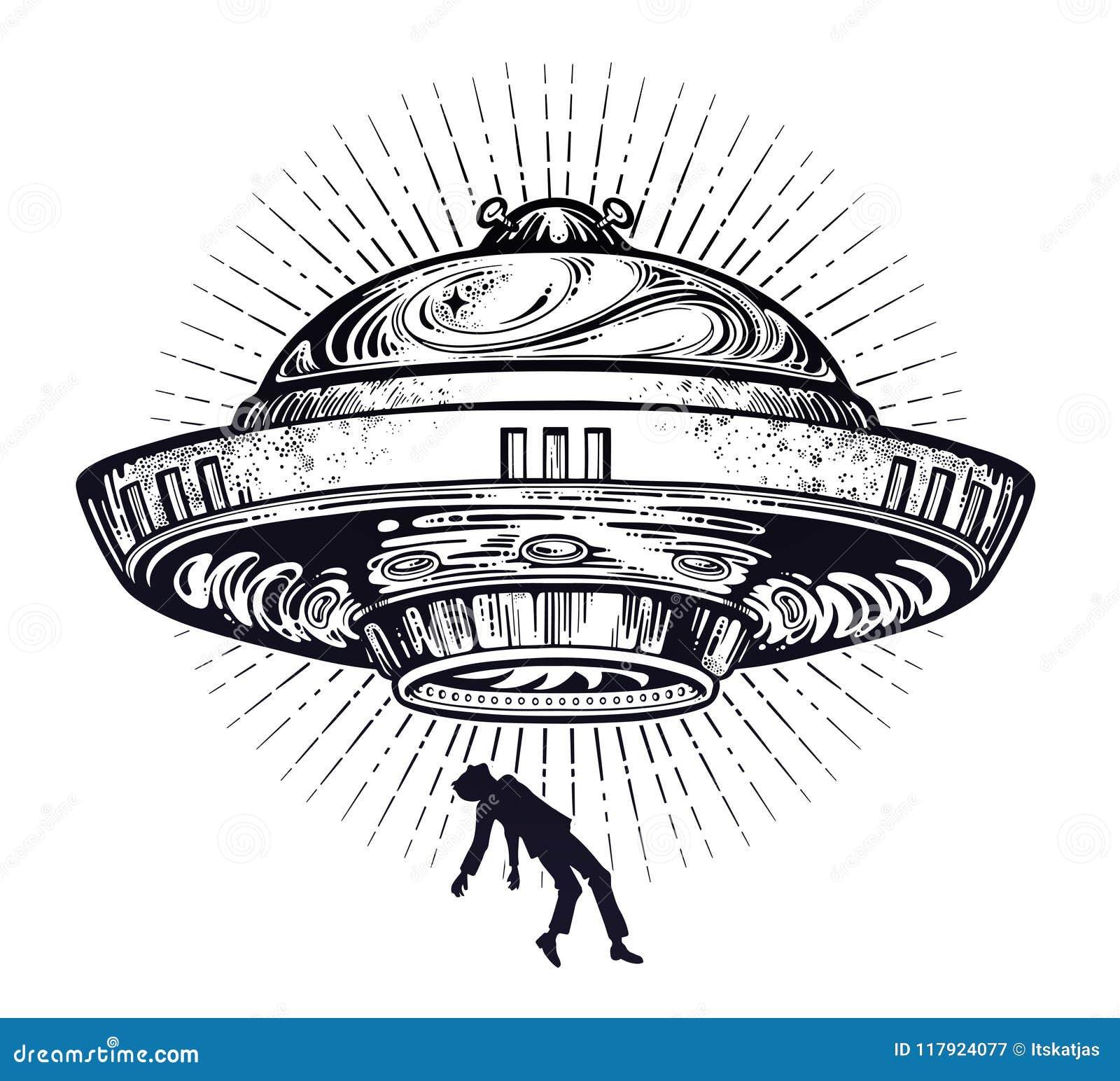 Fantastyczny Obcy statek kosmiczny UFO uprowadzenie istota ludzka z latającego spodeczka ikoną