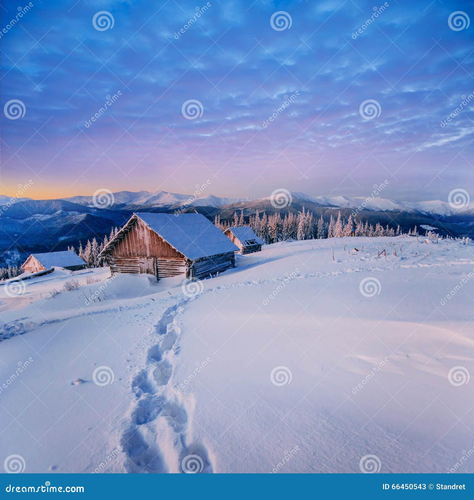 Fantastyczny zima krajobraz Karpacki, Ukraina, Europa