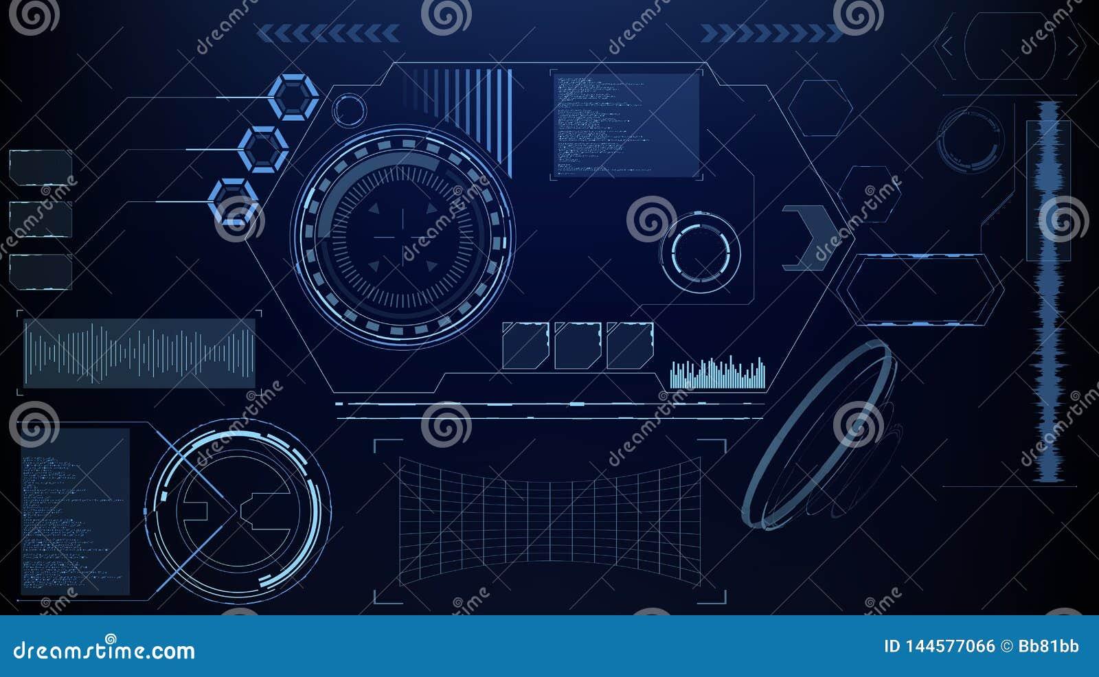 Fantastyka naukowa HUD Futurystyczny Rozjarzony pokaz Vitrual rzeczywistości technologii ekran
