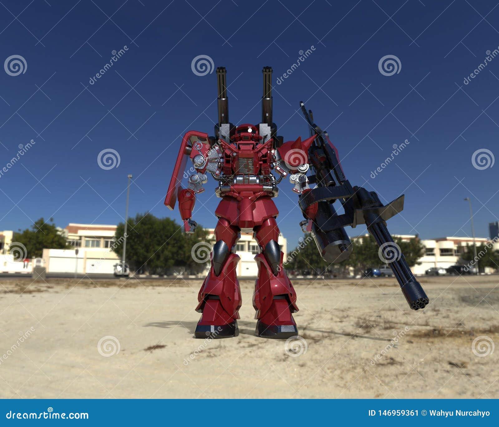 Fantastyka naukowa ?o?nierza mech pozycja na krajobrazowym tle Militarny futurystyczny robot z zieleni? i szaro?? barwimy metal M