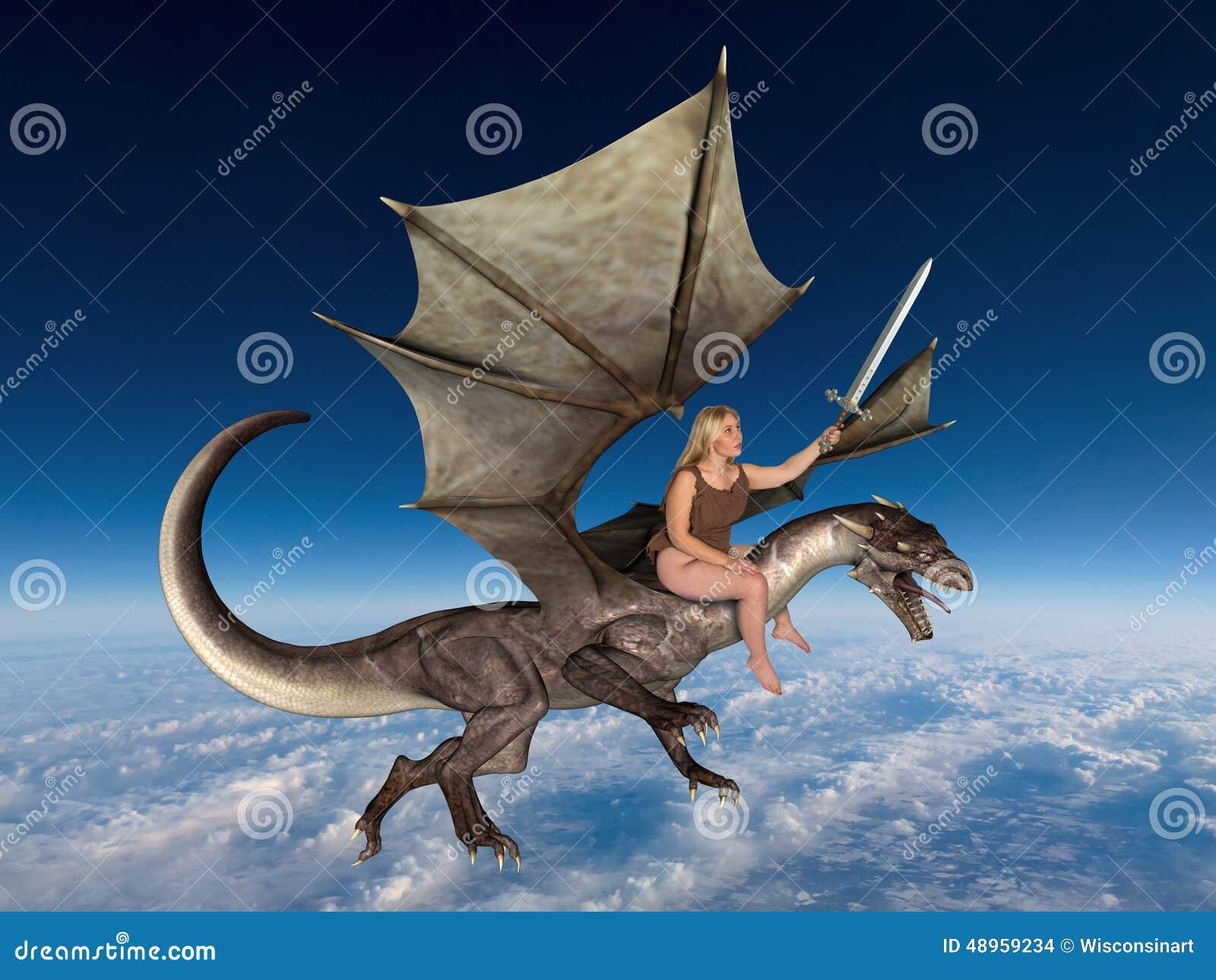 woman in a fant... Flying Fantasy Dragons