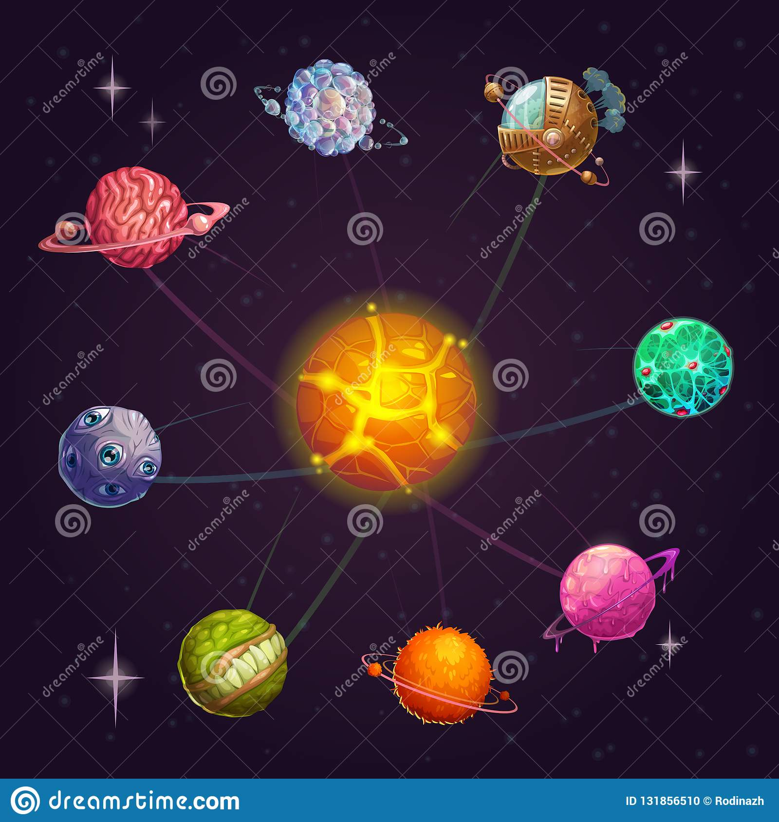 Fantasy alien solar system with star and unusual planets. Vector space illustration.