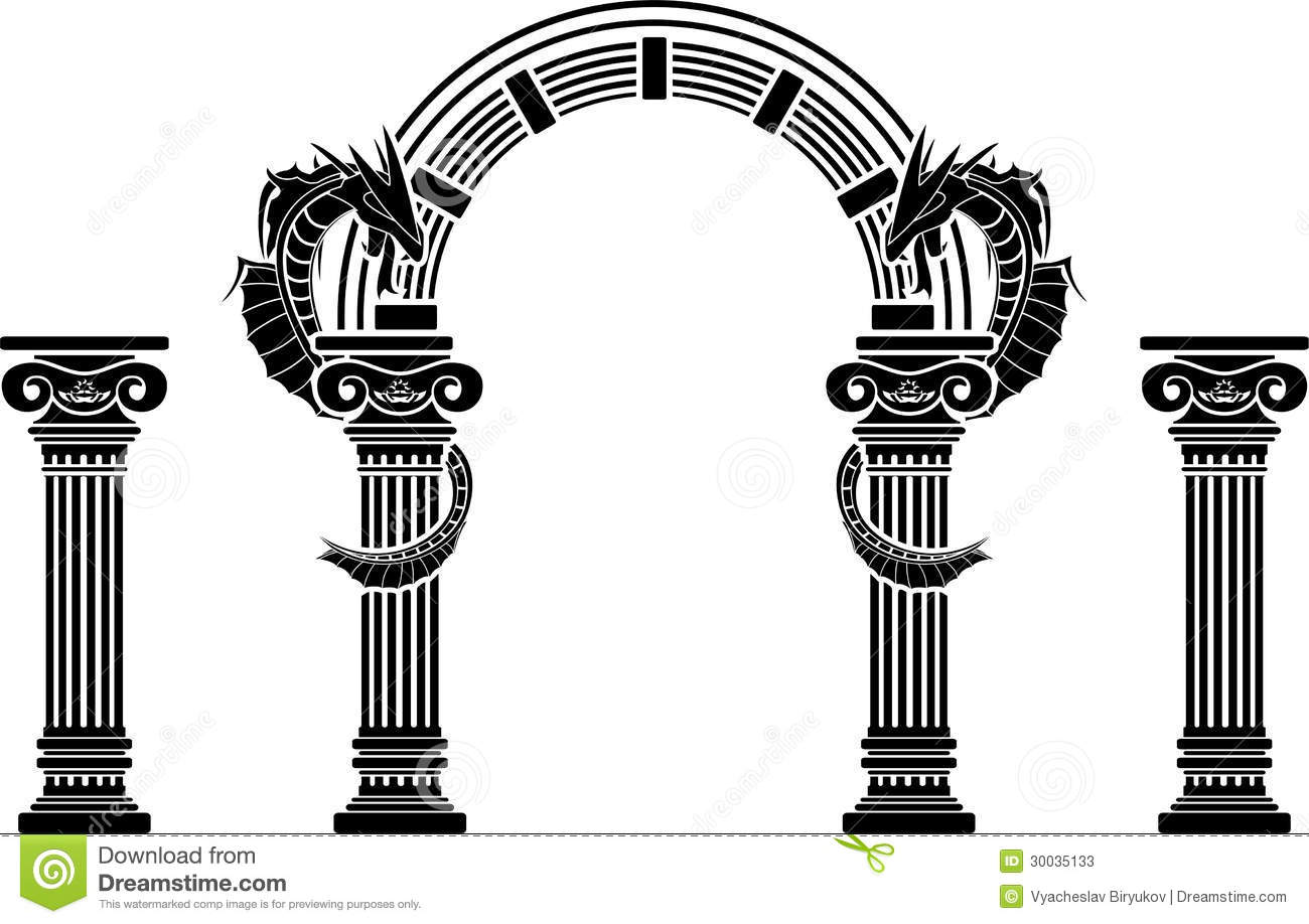 Fantasy Arch And Columns Stock Vector Image Of Animal