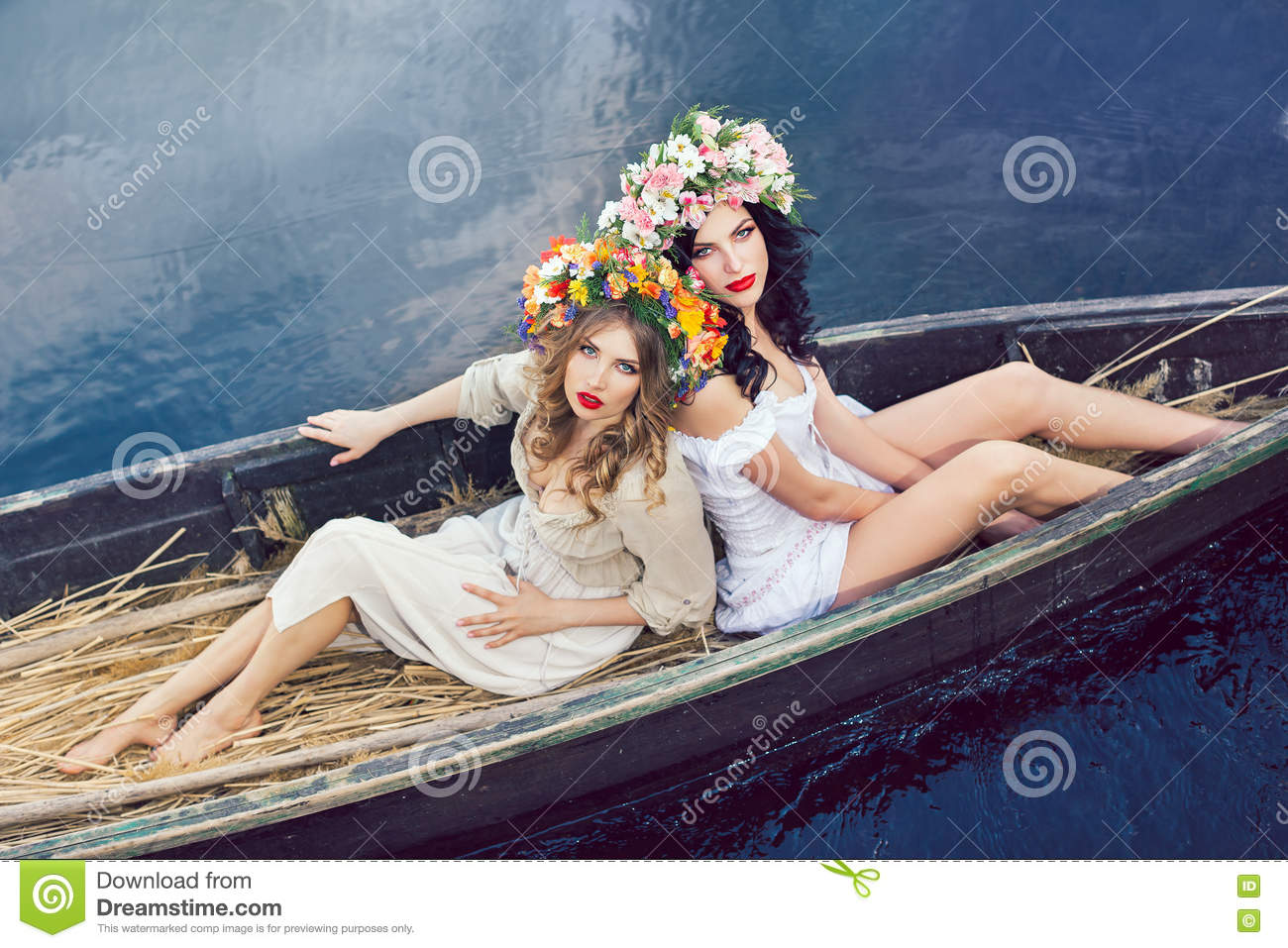 Fantasy art photo of a beautiful girls in boat