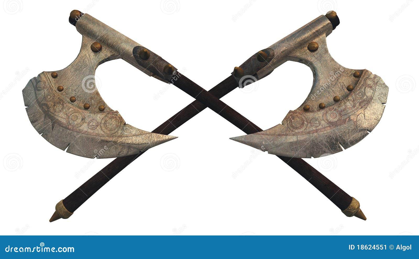 Crossed Viking Axes Fa...