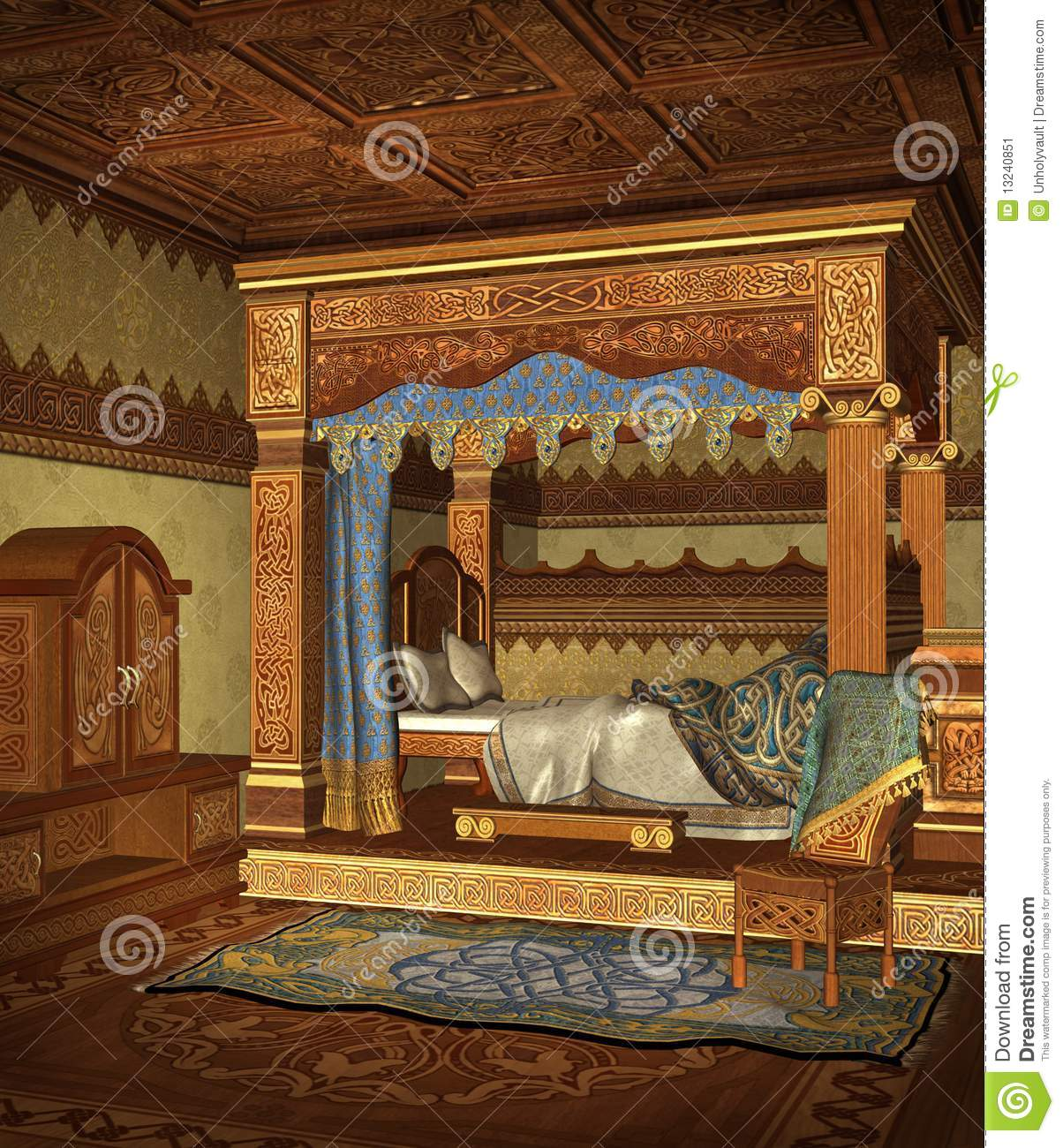 Fantasy Bedroom 4 Stock Illustration Image Of Chamber