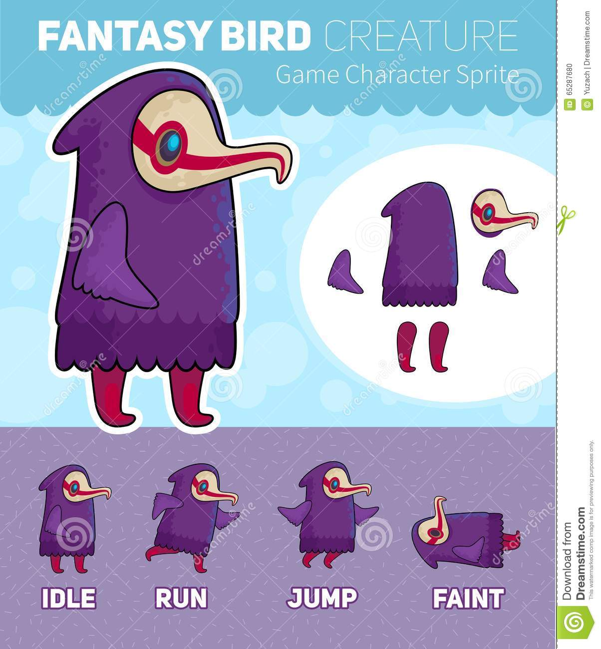 Fantasy Bird Creature Game Character Sprite Sheet Stock