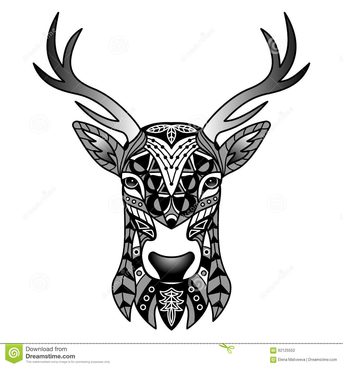 Tattoo Designs White Background: Fantasy Black Deer Mascot Stock Vector. Image Of Child