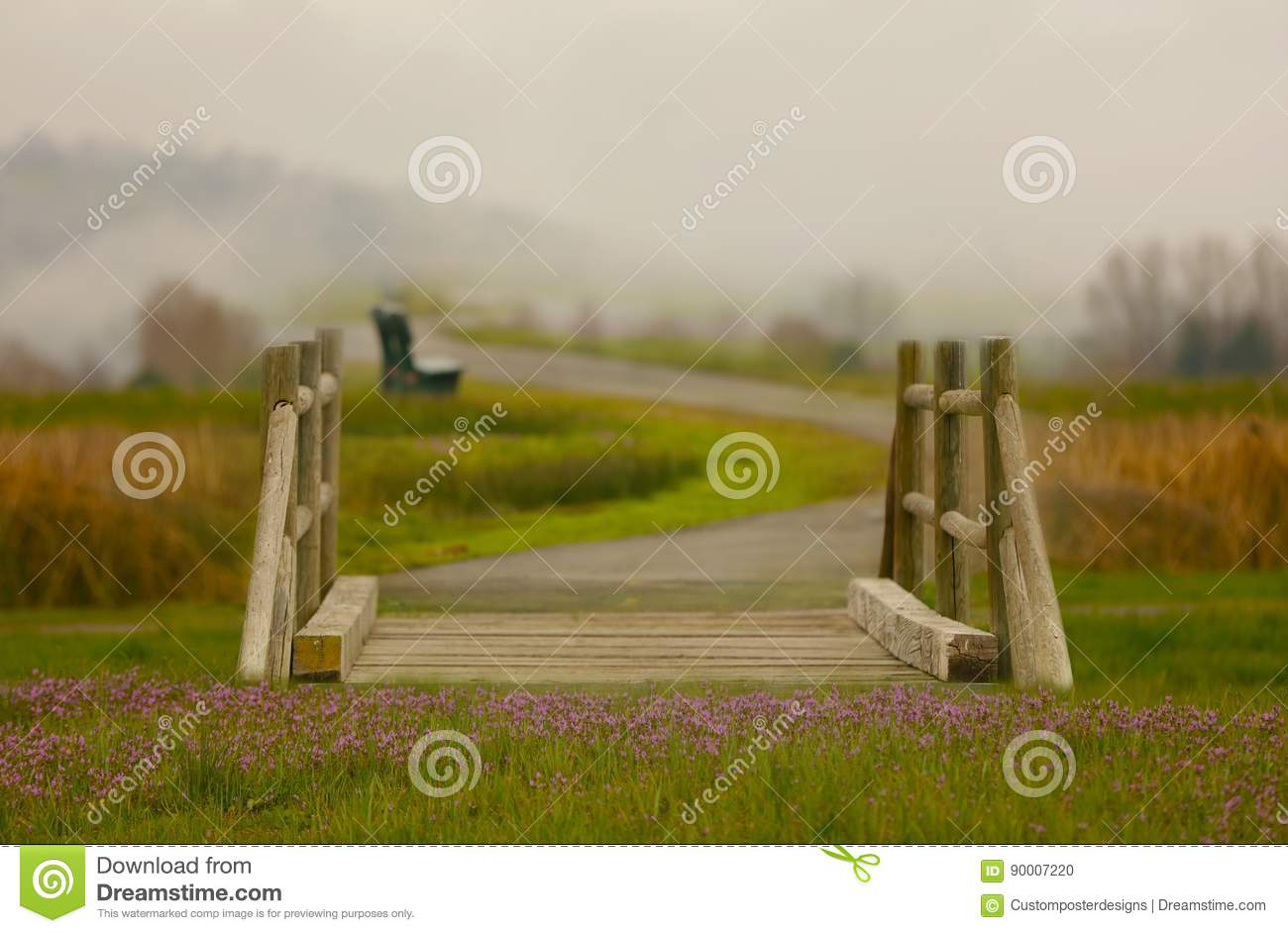 Download A Fantasy Bridge With Flower And Fog In The Background. Stock Photo - Image of backdrop, fantasy: 90007220