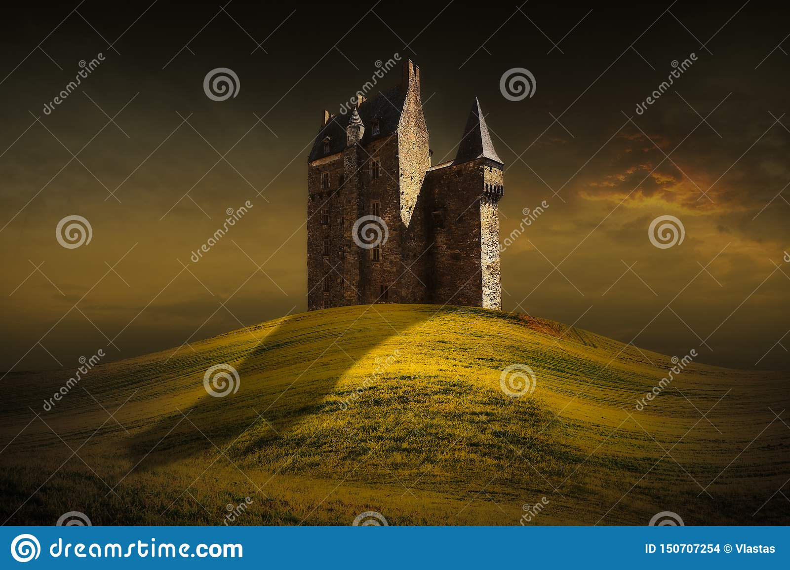Fantasy castle behind the green grass hill