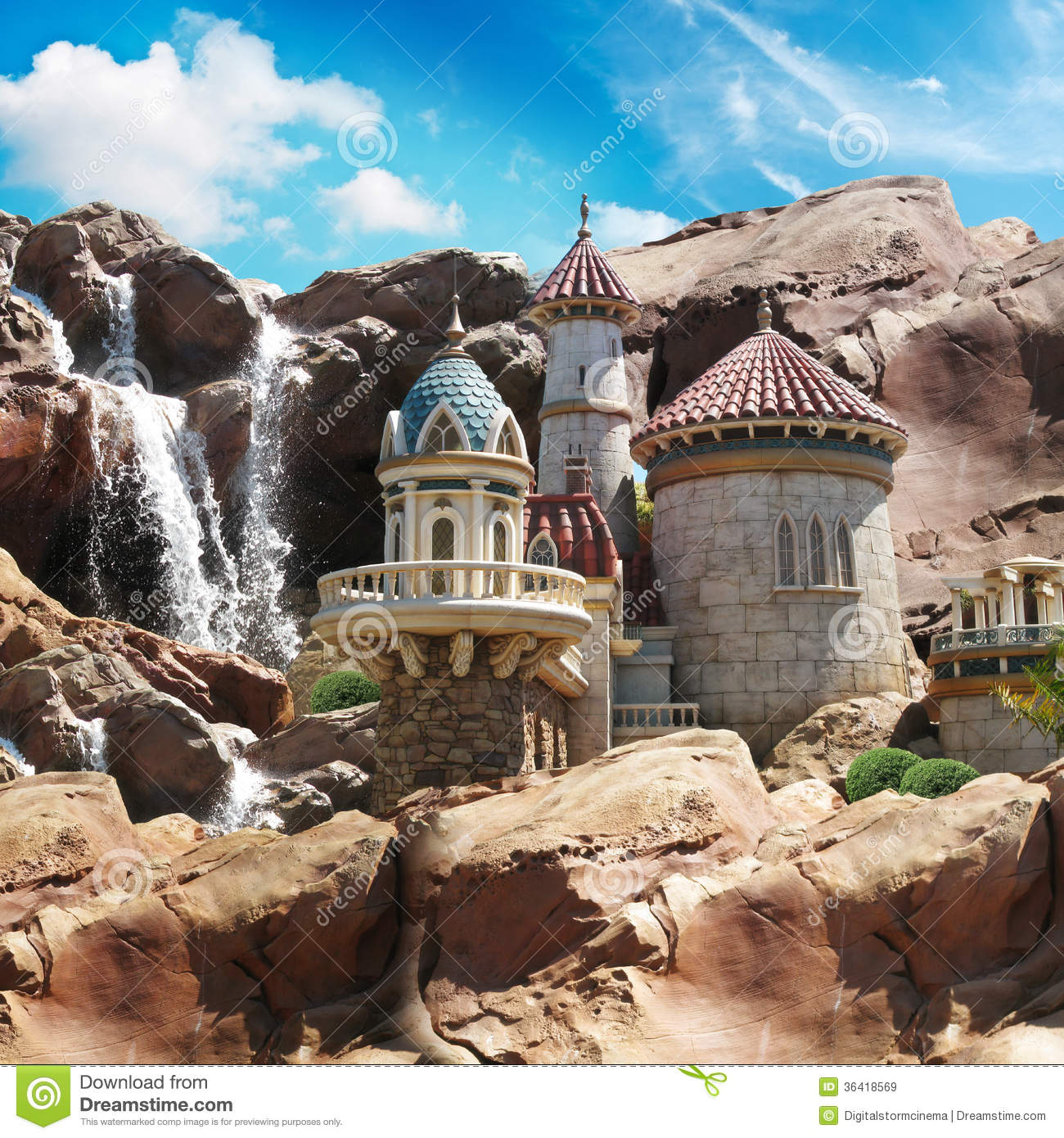Fantasy Castle On The Cliffs Royalty Free Stock Images ...