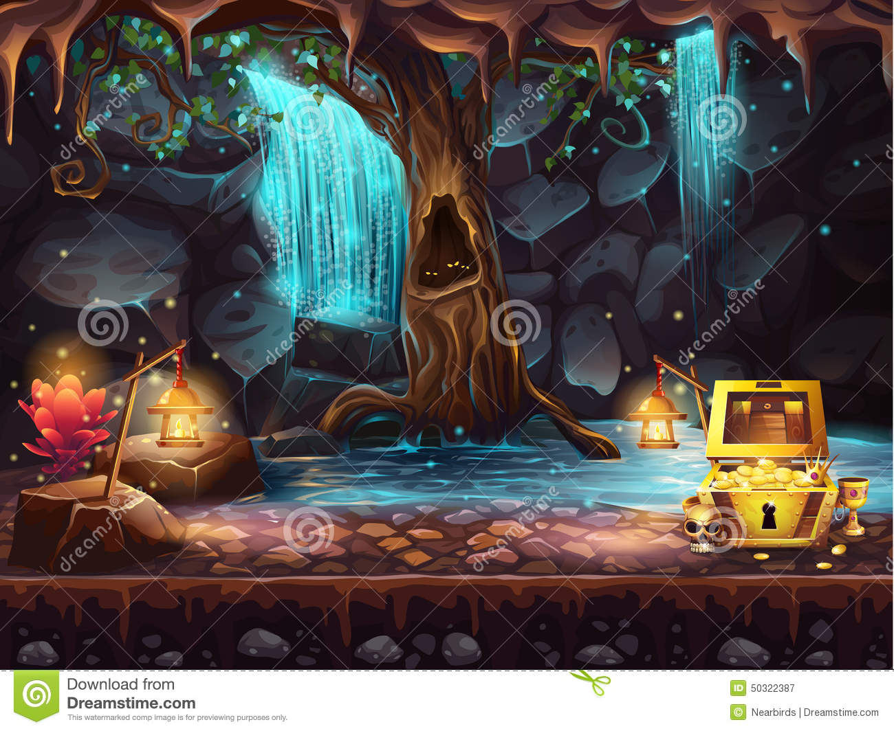 fantasy cave with a waterfall tree treasure chest stock