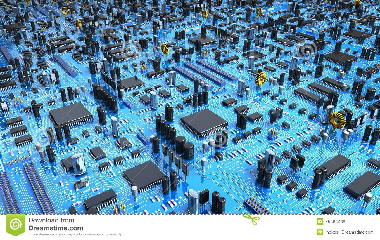 Stock Illustration Fantasy Circuit Board D Illustration Mainboard Mother Lot Chips Processors Image45484438 on in circuit diagram processor