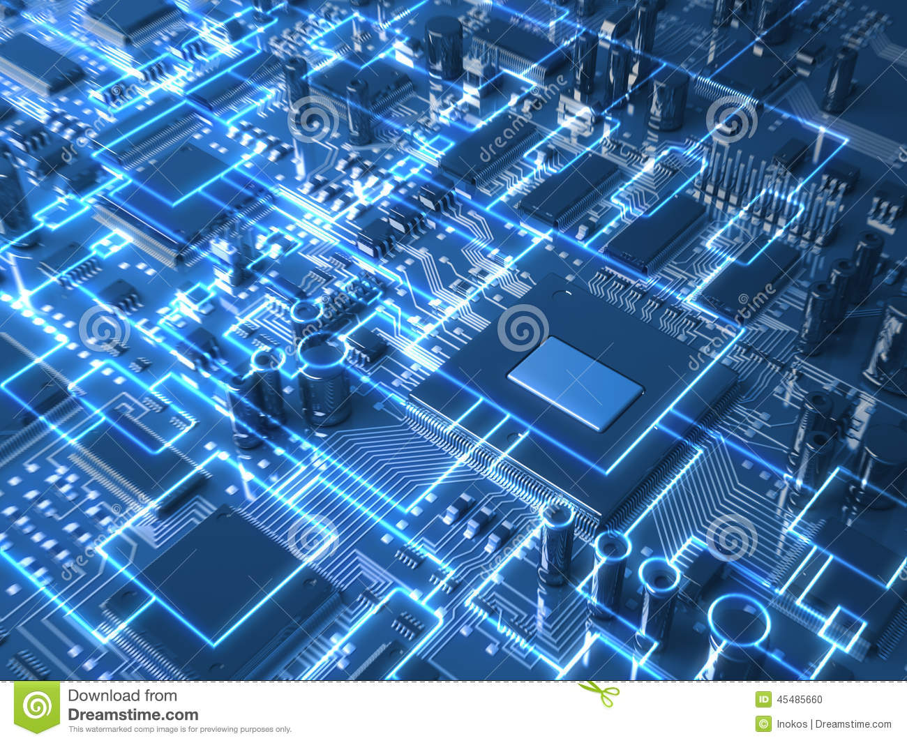 Motherboard Circuit Illustration: Fantasy Circuit Board Or Mainboard With Glowing Schemes