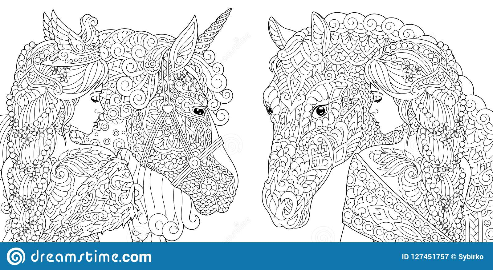 Fantasy Coloring Pages stock vector. Illustration of elegant ...