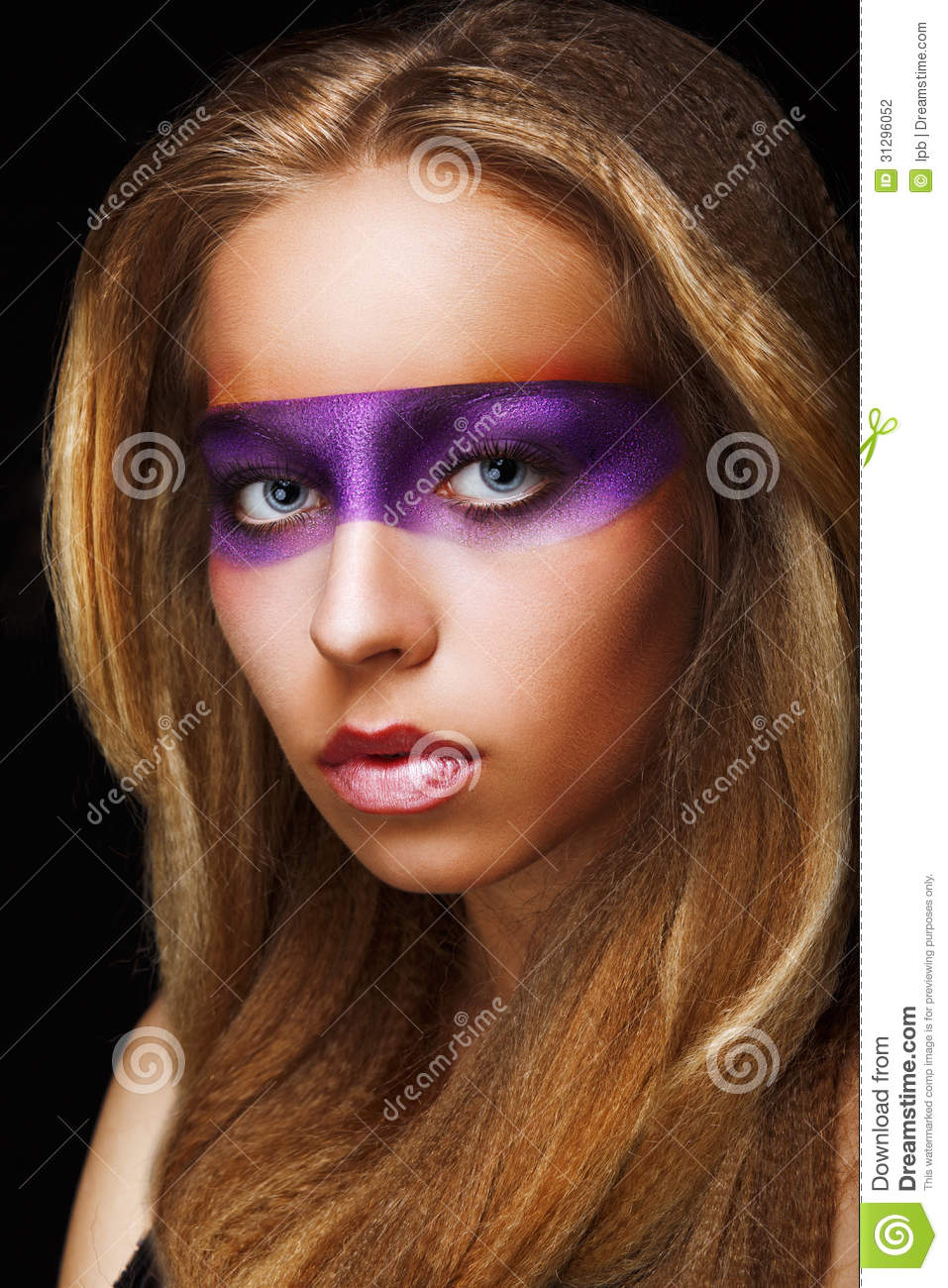 Fantasy Coloring Trendy Woman With Shiny Colorful Makeup