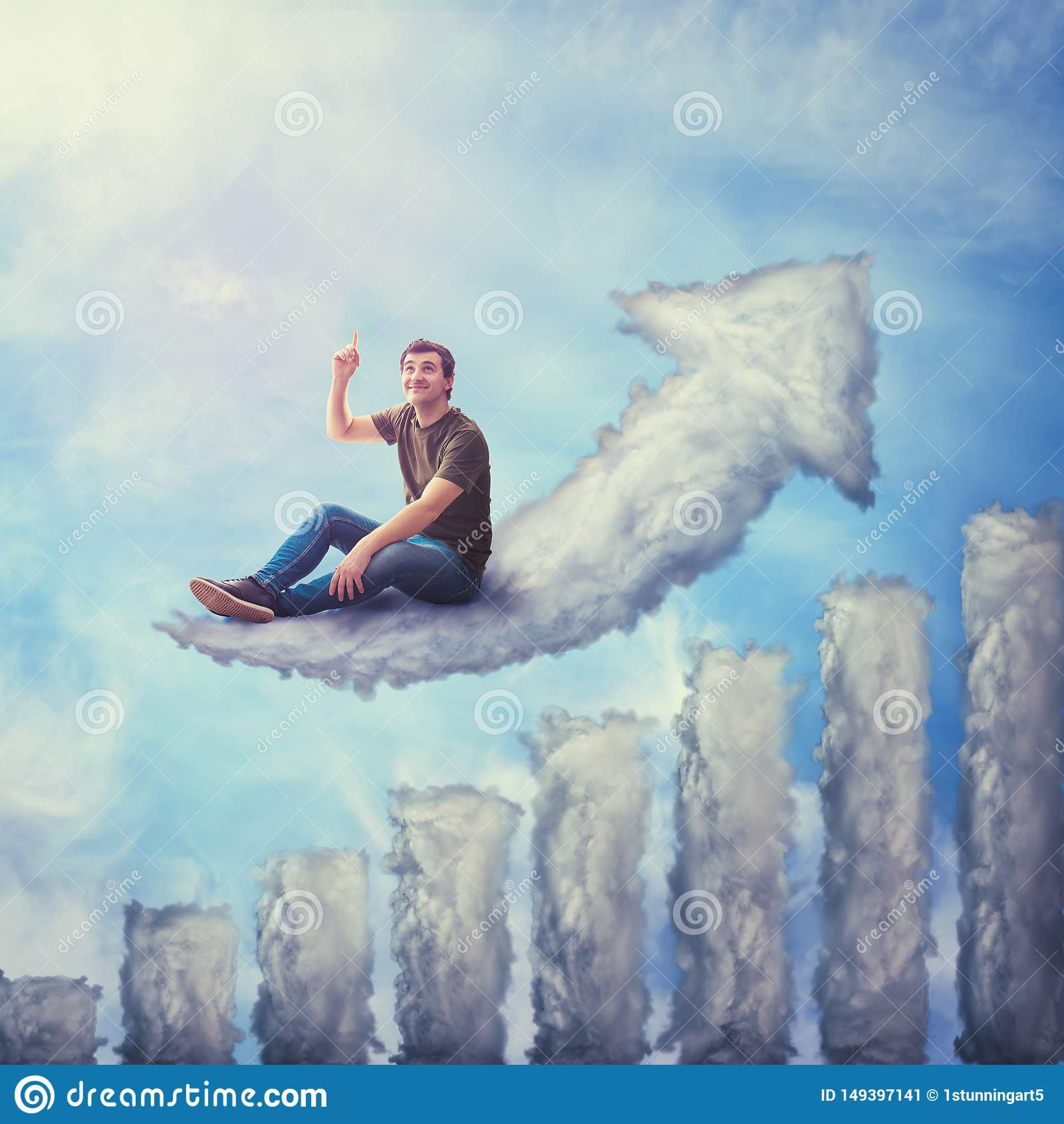 Fantasy concept as an excited guy seated on a cloud shaped as increasing graph, looking and pointing index finger up, dreaming of