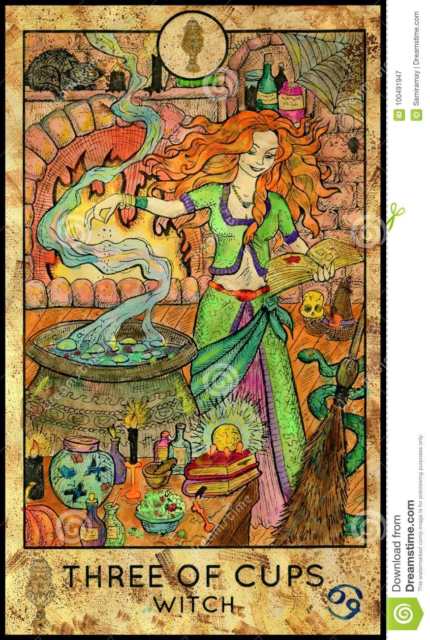 Minor Arcana: Witch. Three Of Cups. Stock Illustration. Image Of Drawing