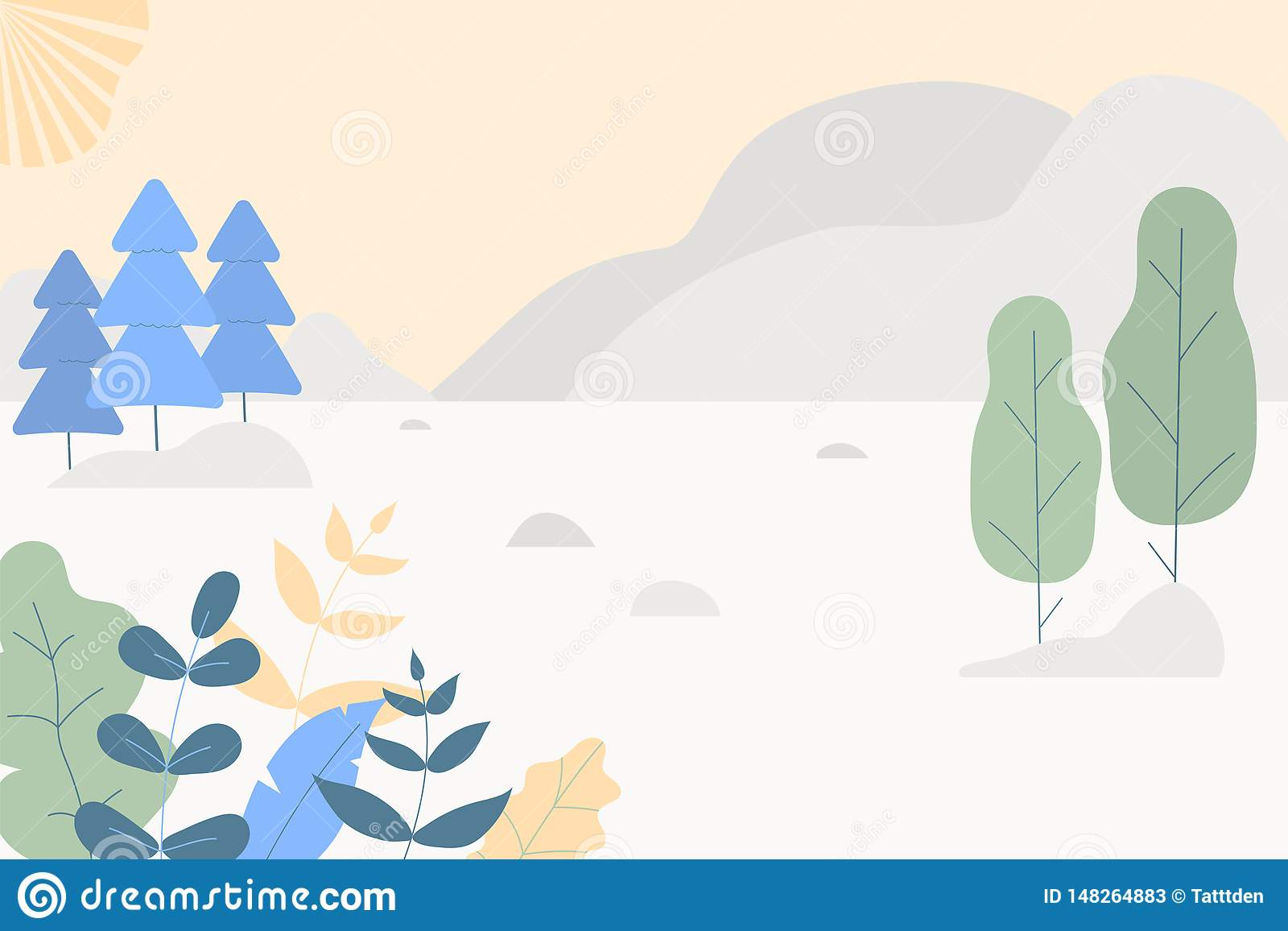 Fantasy cute landscape. Trendy fashion plants, leaves,mountains,sun and nature in minimalistic flat design style. Bushes, trees,