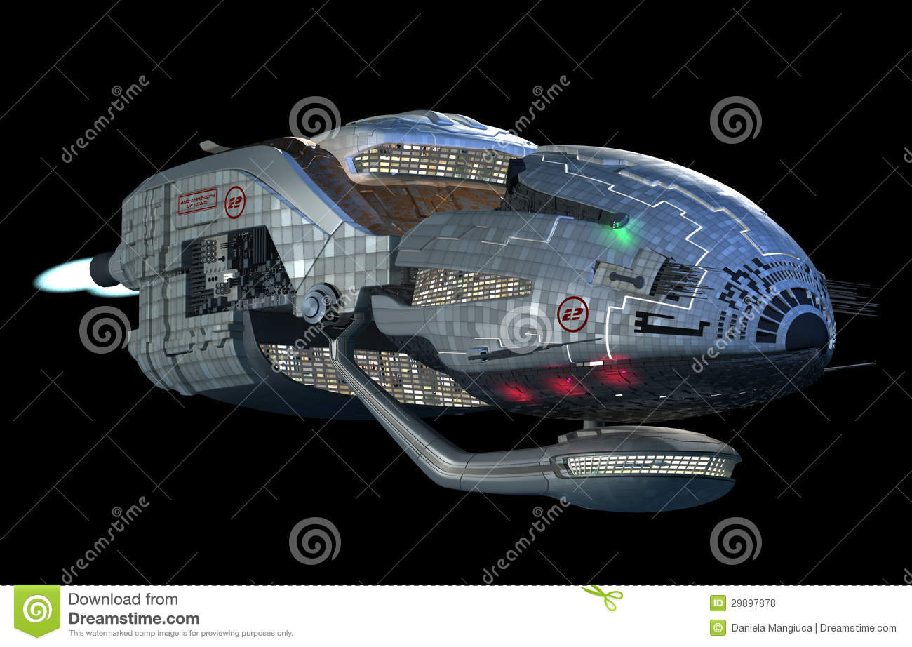 Fantasy 3D model of futuristic space ship in interstellar deep space ...
