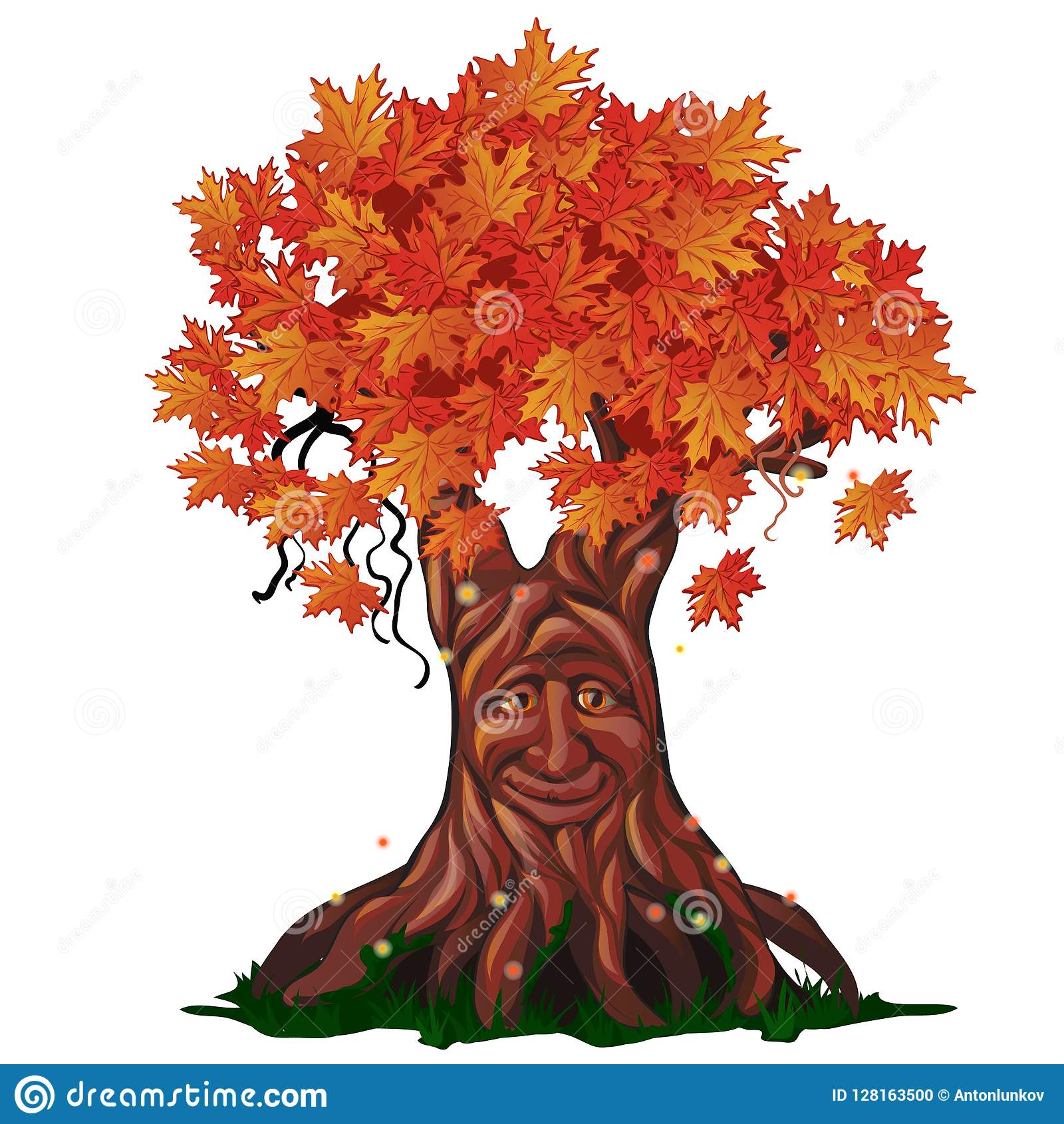 Fantasy deciduous tree with face in the fall isolated on white background. Golden autumn in the enchanted forest. Vector