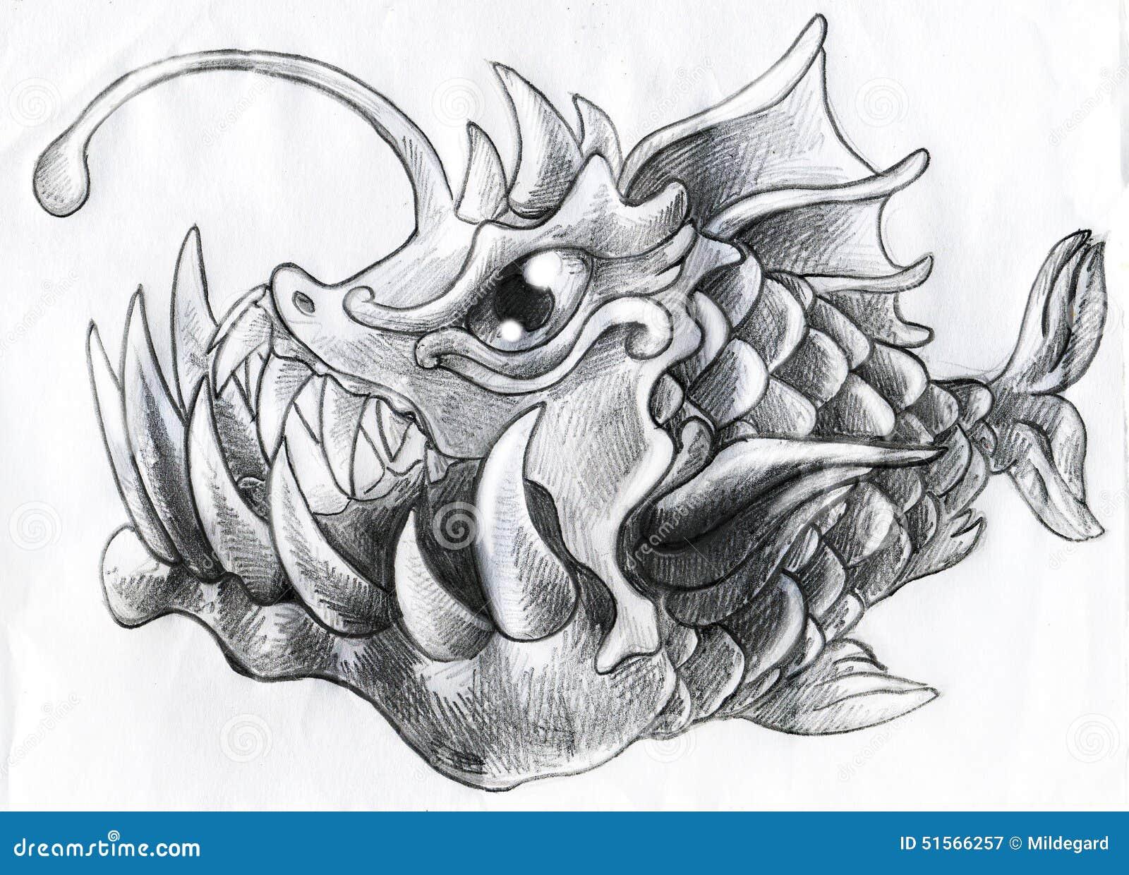 Fantasy deep water fish pencil sketch