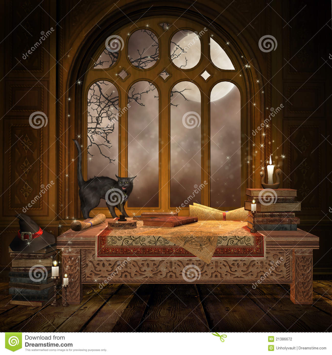 Fantasy Desk With Books And Scrolls Stock Illustration