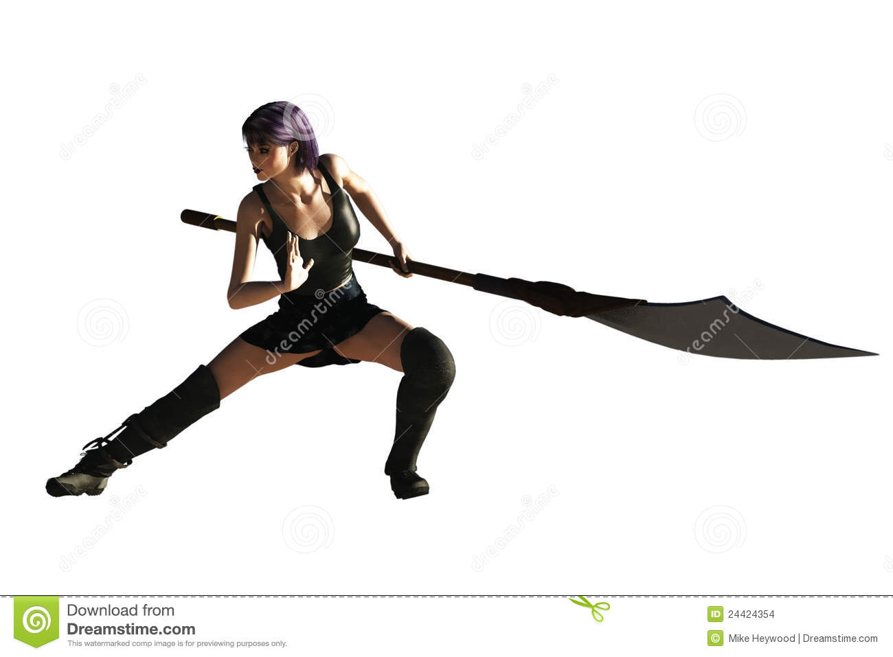 Sexy fantasy female in fighting posture with long handled bladed ...