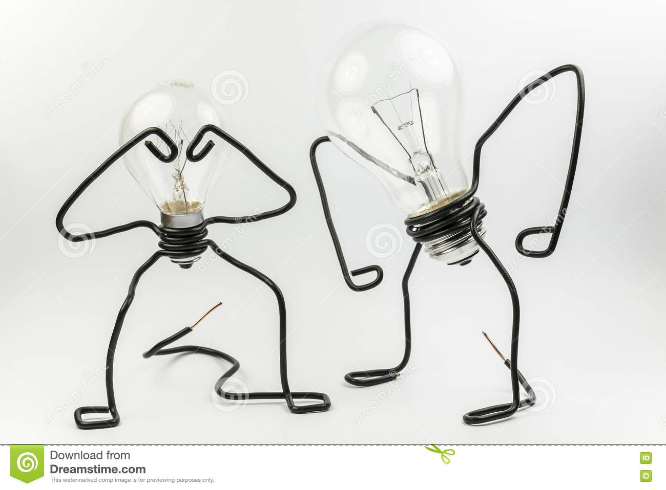 Fantasy Figures Of Light Bulbs And Wires Stock Photo Image Wiring Two In Series Emotional Transparant Black Electrical