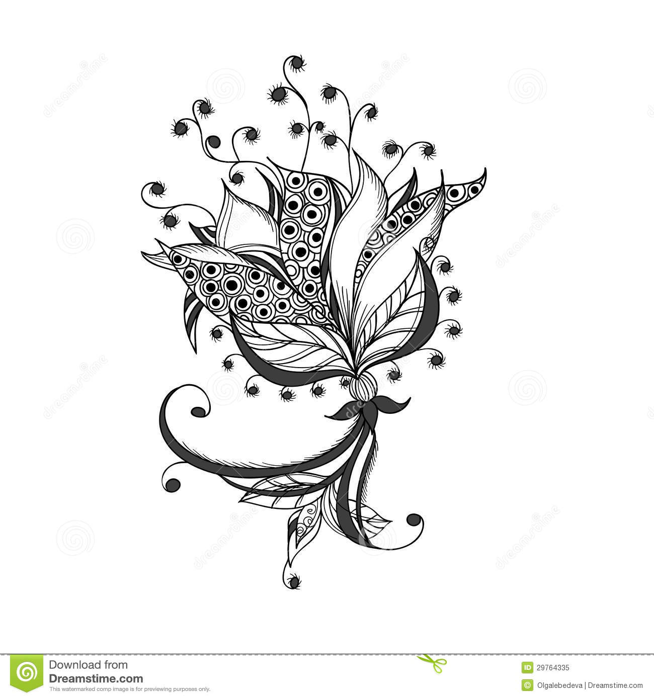 Fantasy Flower, Black And White Tattoo Pattern Royalty Free Stock ...